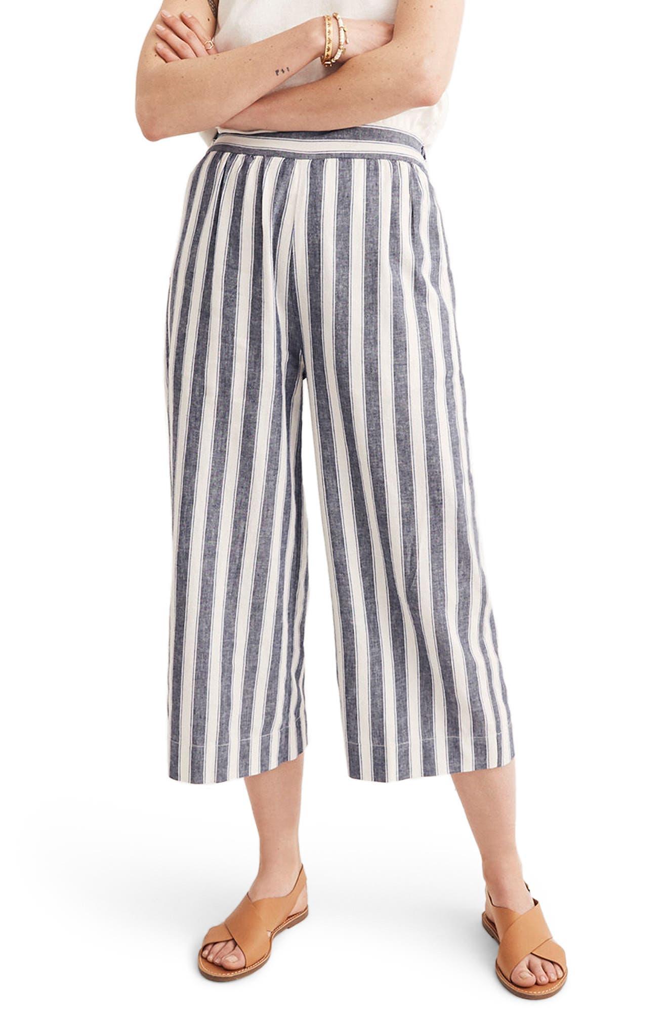Huston Stripe Crop Pants,                         Main,                         color, Transatlantic Blue