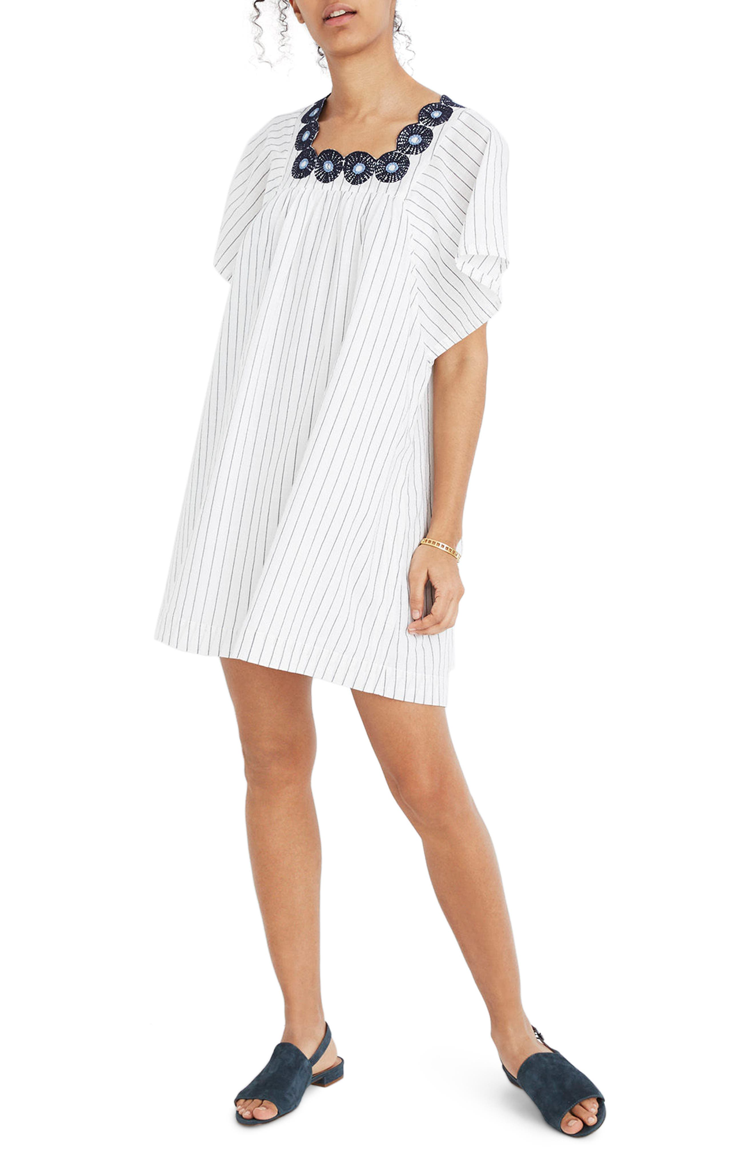 Stripe Embroidered Butterfly Dress by Madewell