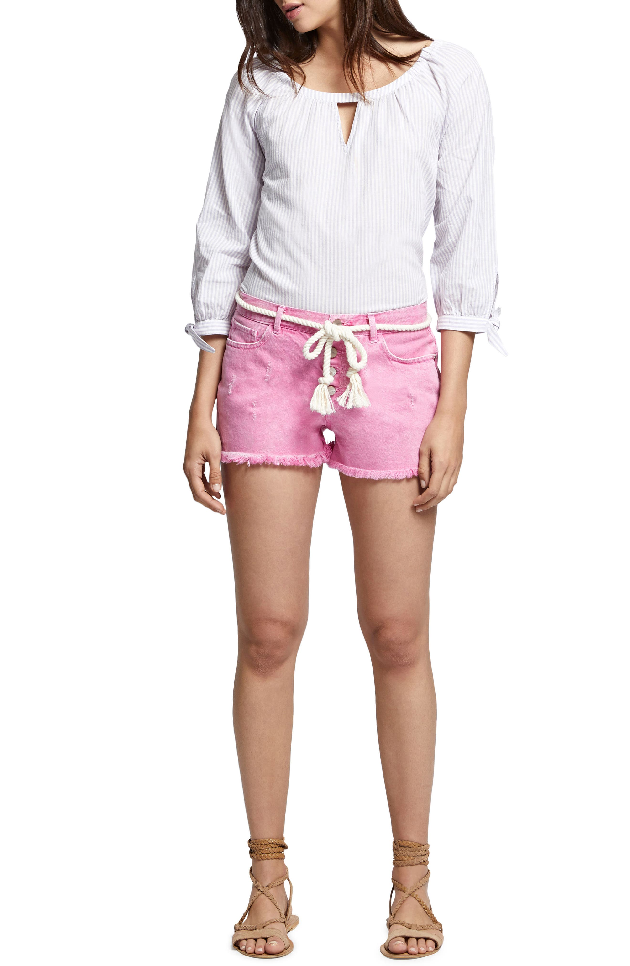 Wild Cherry Fringed Jean Shorts,                             Alternate thumbnail 4, color,                             Washed Wild Cherry