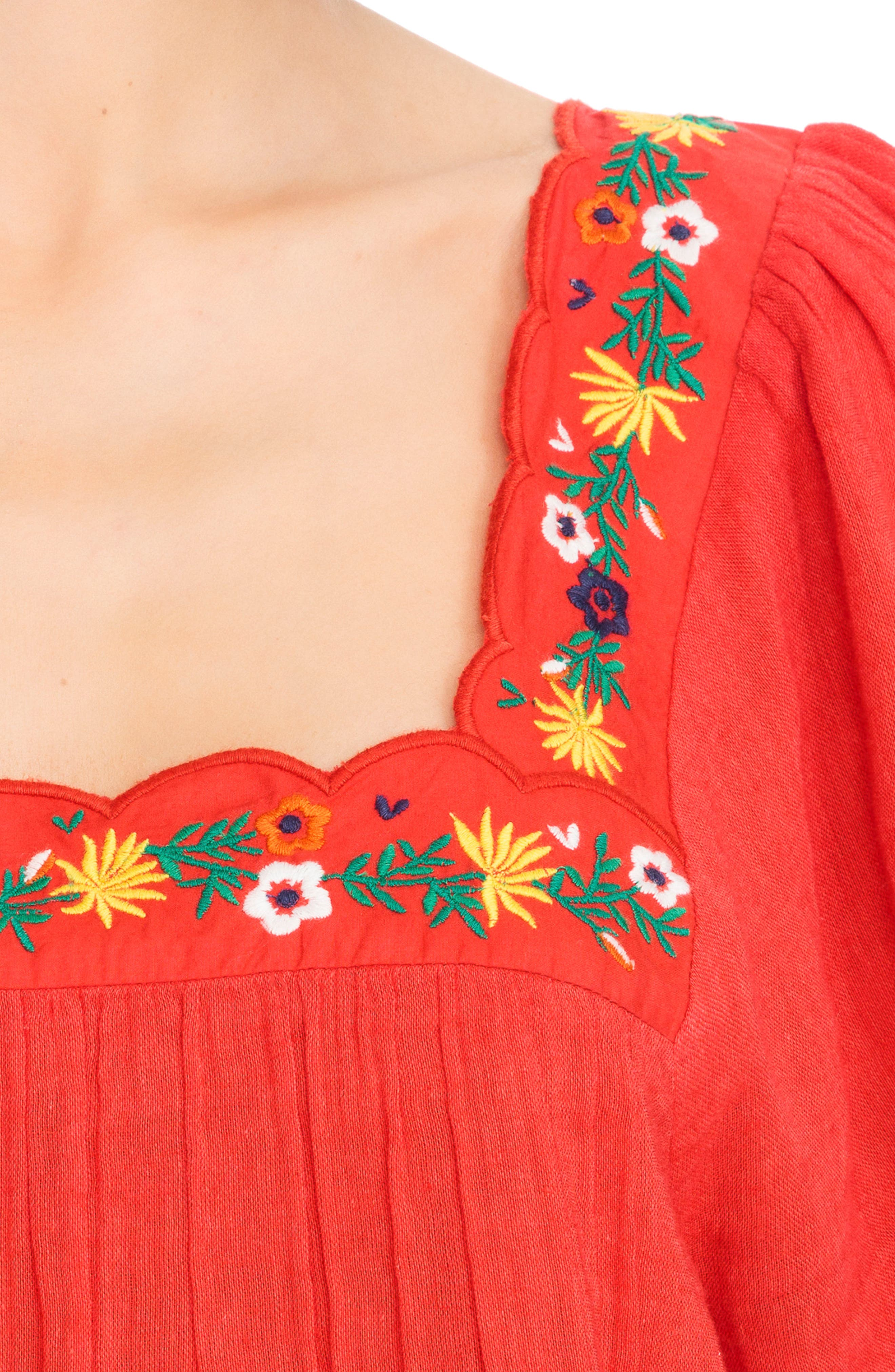 Bea Scalloped Top,                             Alternate thumbnail 6, color,                             Coral Red