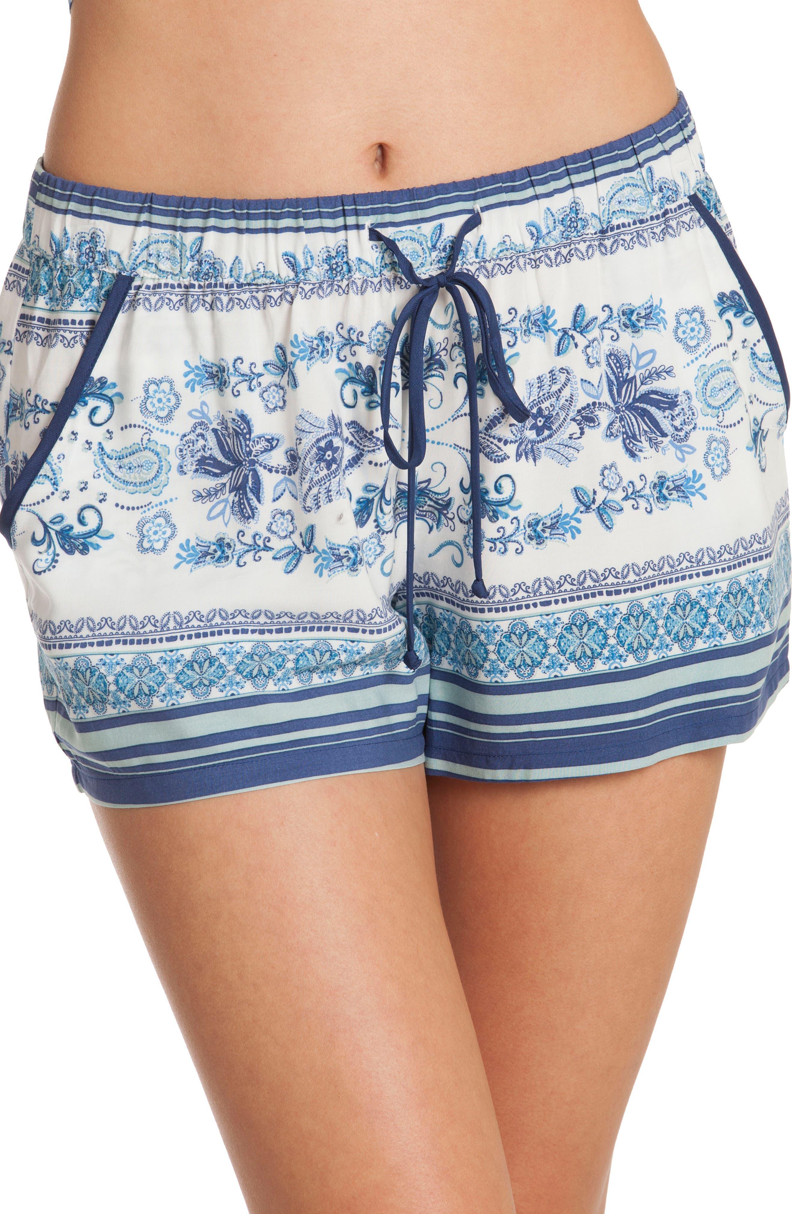 Short Pajamas,                             Alternate thumbnail 4, color,                             Blue/ White Print