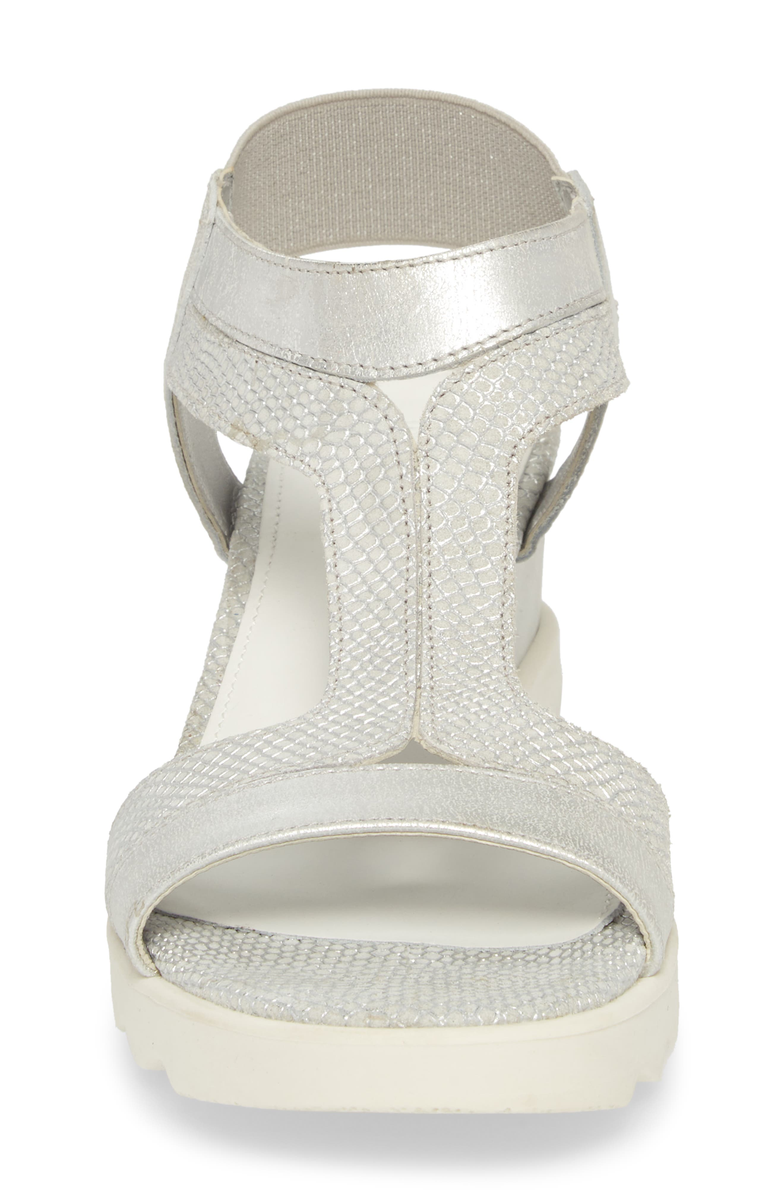 Give A Hoot Wedge Sandal,                             Alternate thumbnail 4, color,                             Silver Leather