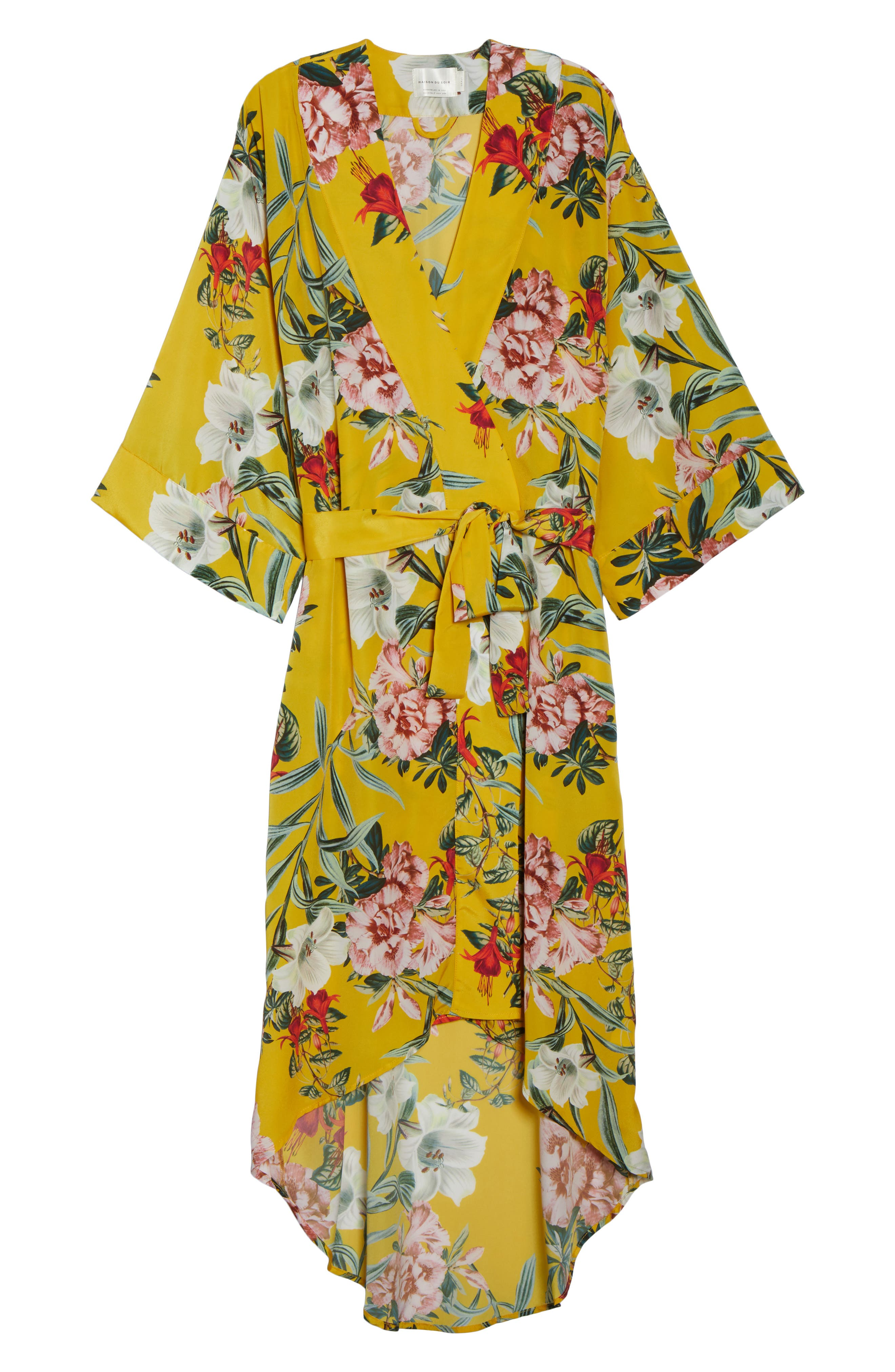 Isabella High/Low Robe,                             Alternate thumbnail 6, color,                             Marigold Floral