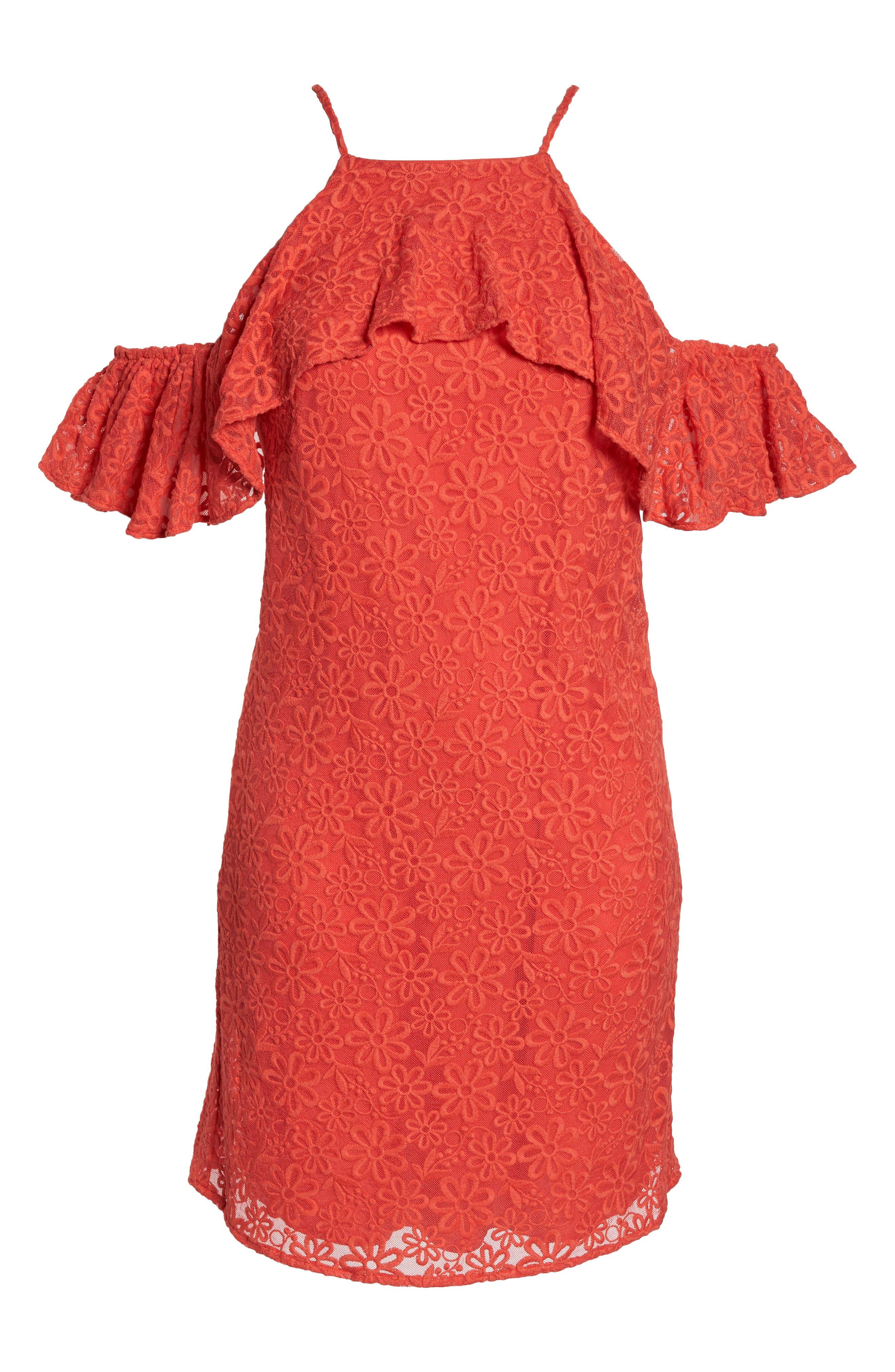 Roseville Cold Shoulder Embroidered Tulle Halter Dress,                             Alternate thumbnail 7, color,                             Lady Bug
