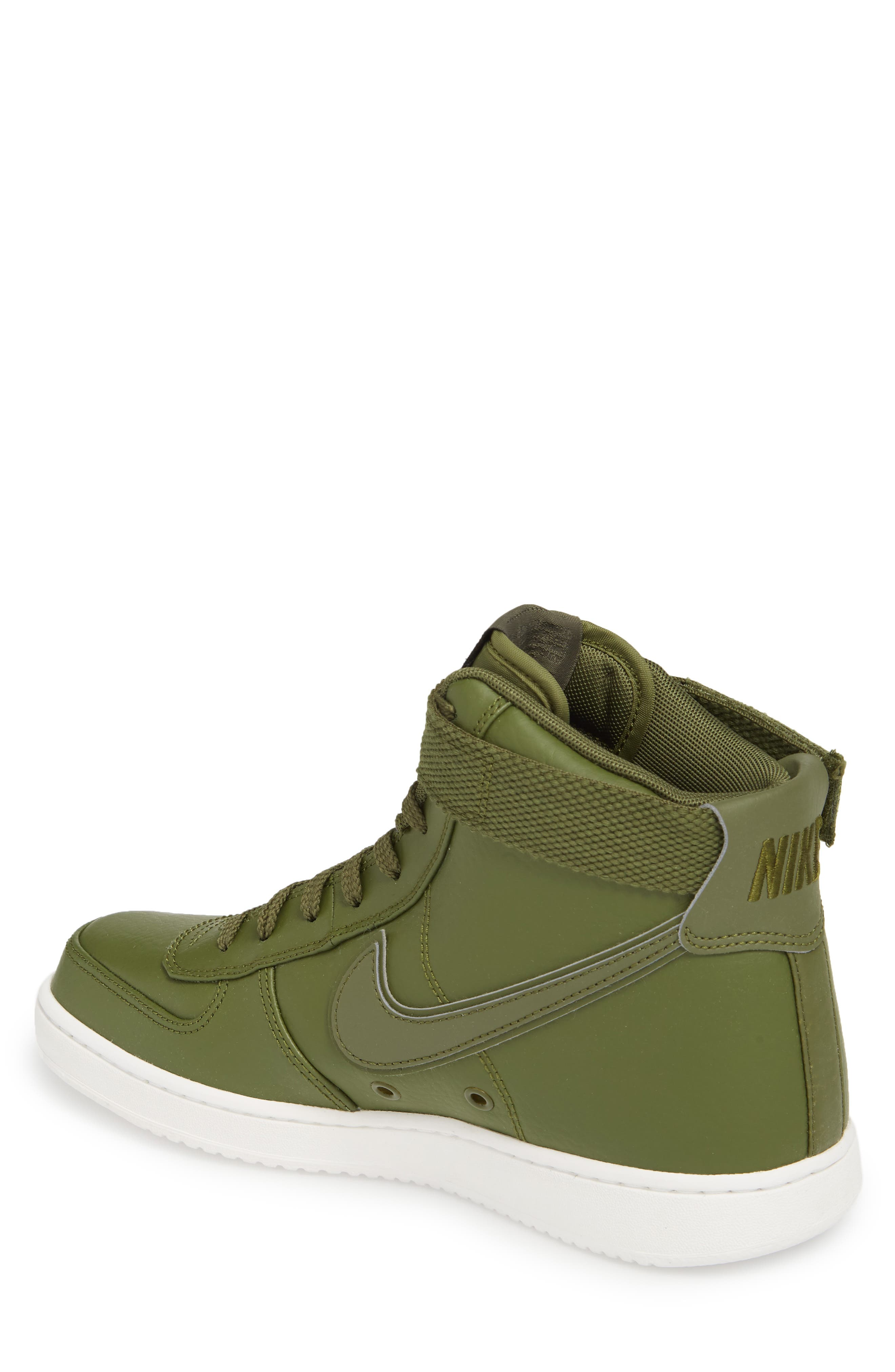 Vandal High Supreme Leather Sneaker,                             Alternate thumbnail 2, color,                             Legion Green/ Summit White