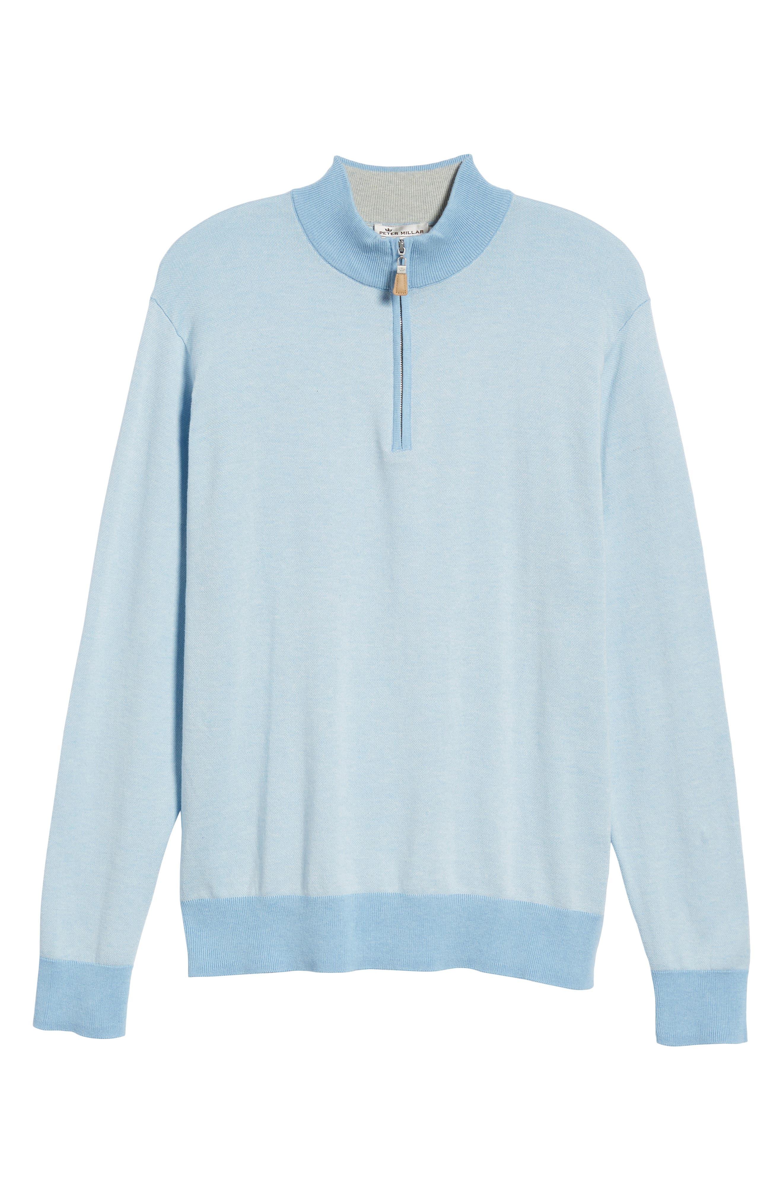 Crown Bird's Eye Cotton & Silk Quarter Zip Sweater,                             Alternate thumbnail 6, color,                             Tarheel Blue
