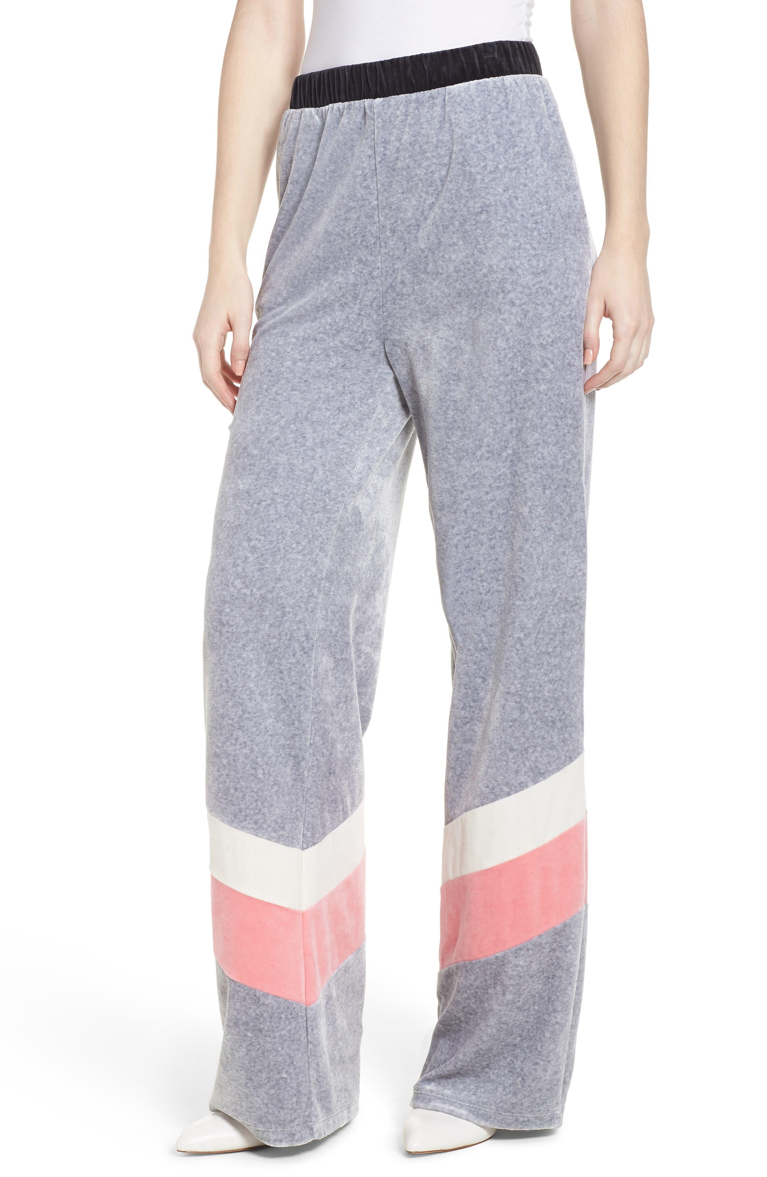 Colorblock Velour Wide Leg Pants,                             Main thumbnail 1, color,                             Silver Lining Angel Combo