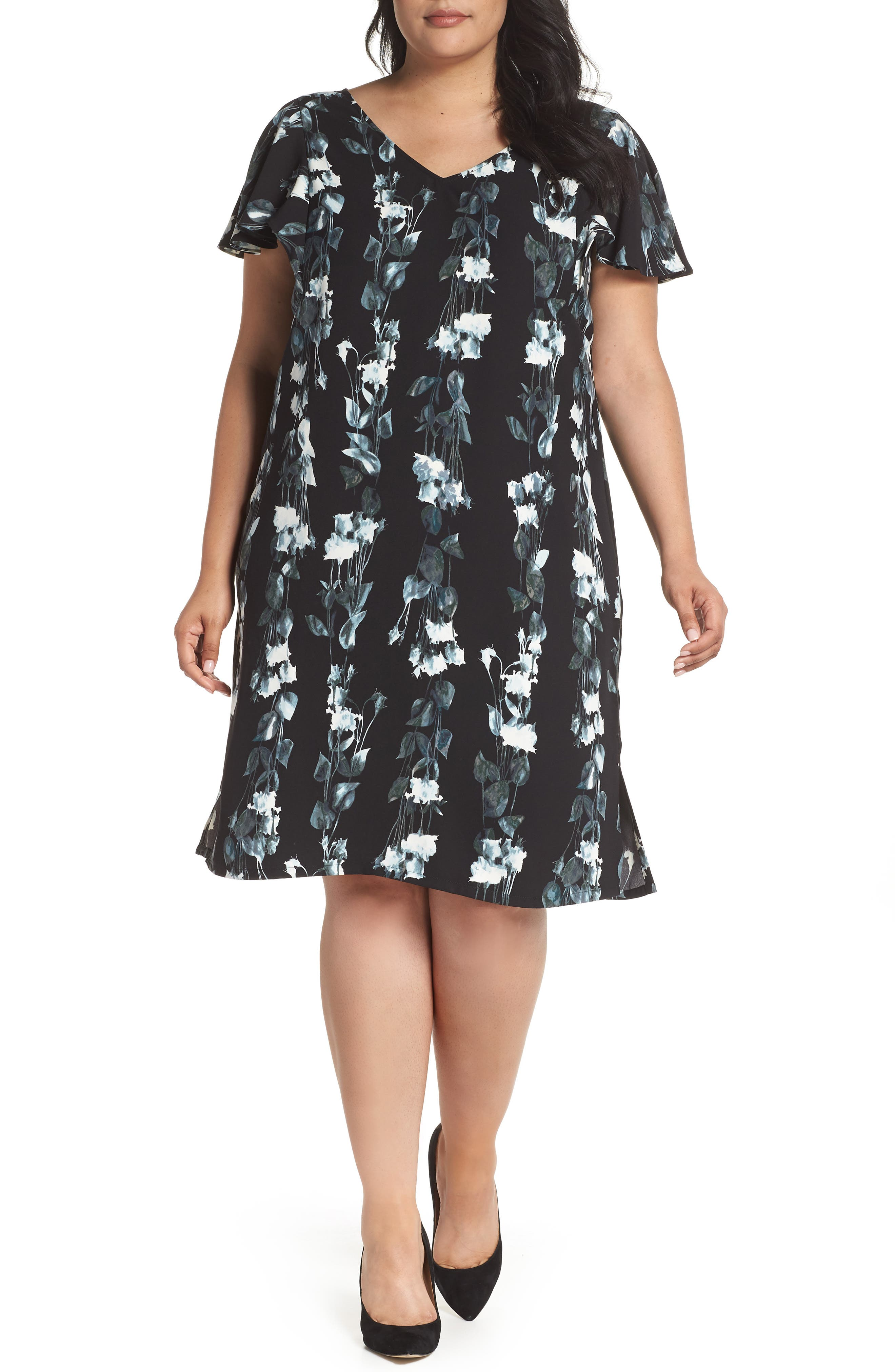 Flutter Sleeve Shift Dress,                         Main,                         color, Black- Blue Vertical Florals