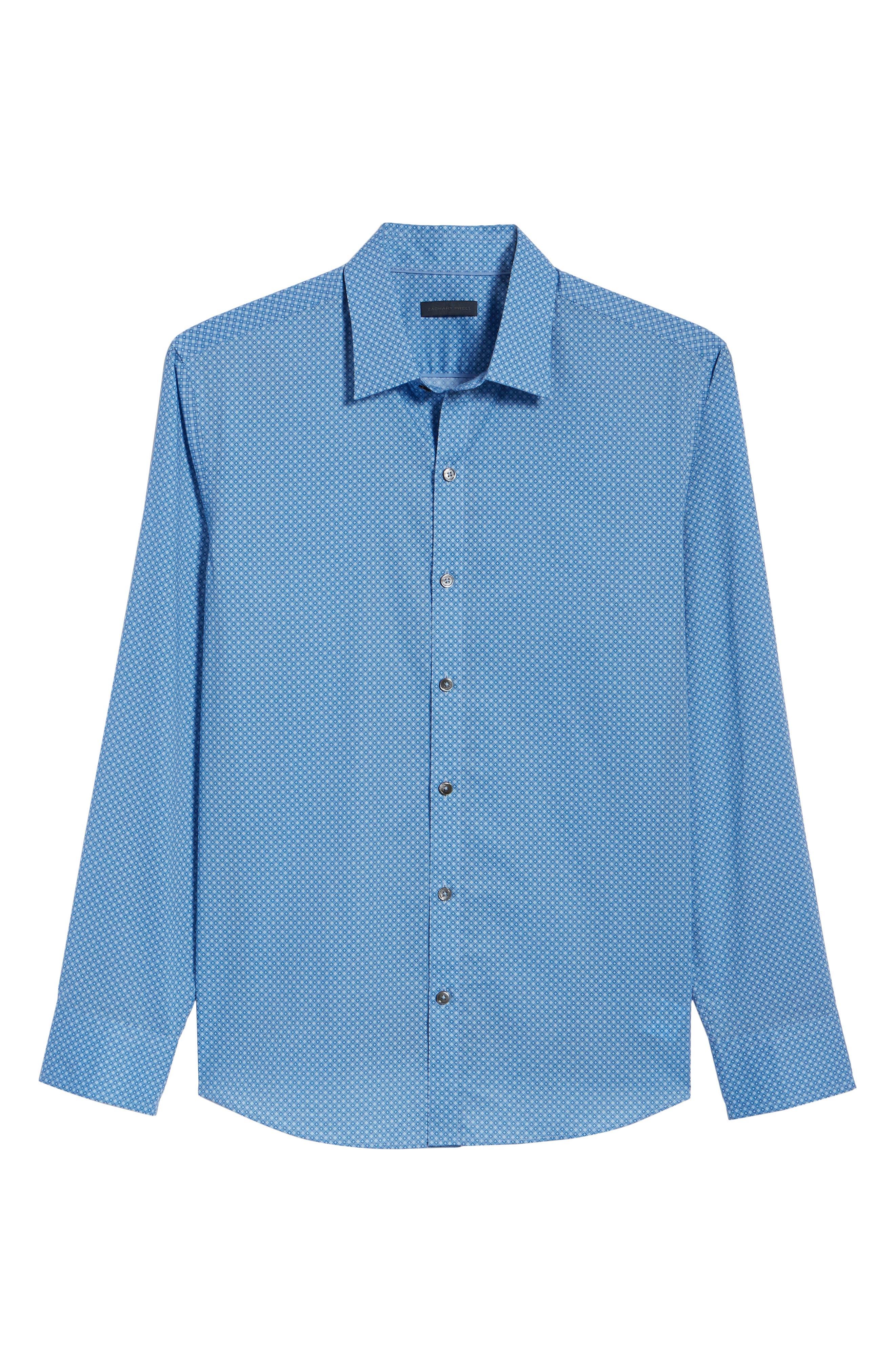 Ethan Slim Fit Sport Shirt,                             Alternate thumbnail 6, color,                             Blue