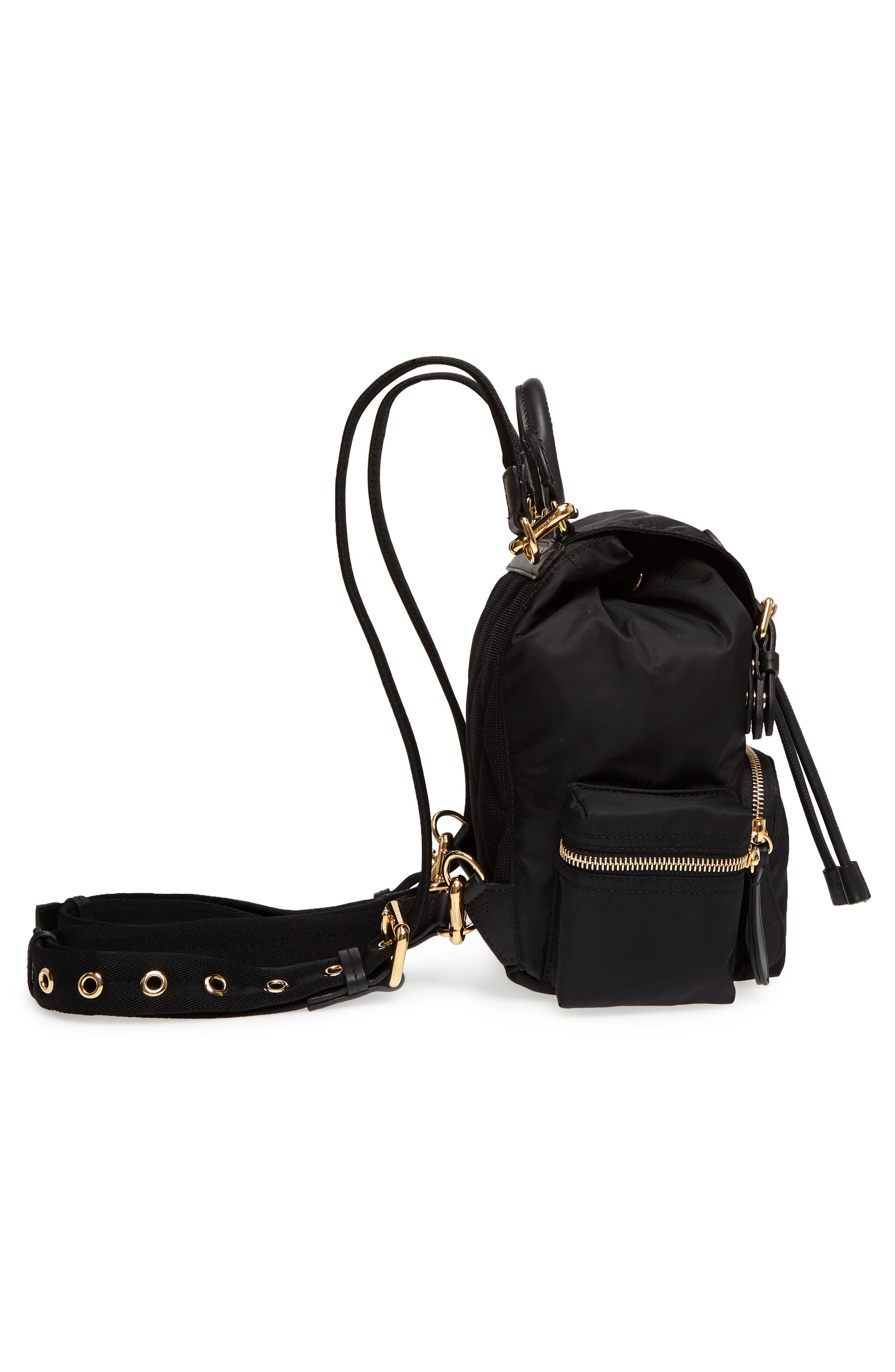 Small Rucksack Nylon Backpack,                             Alternate thumbnail 5, color,                             Black