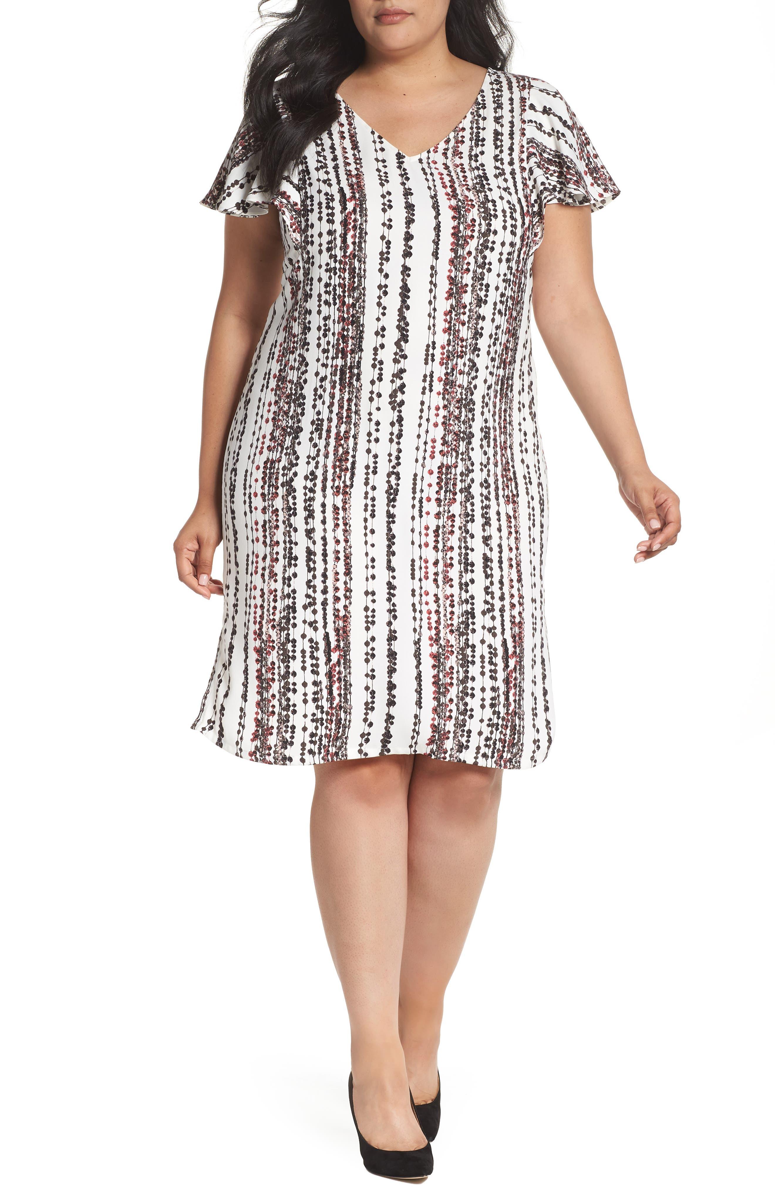 Sejour Flutter Sleeve Shift Dress (Plus Size)
