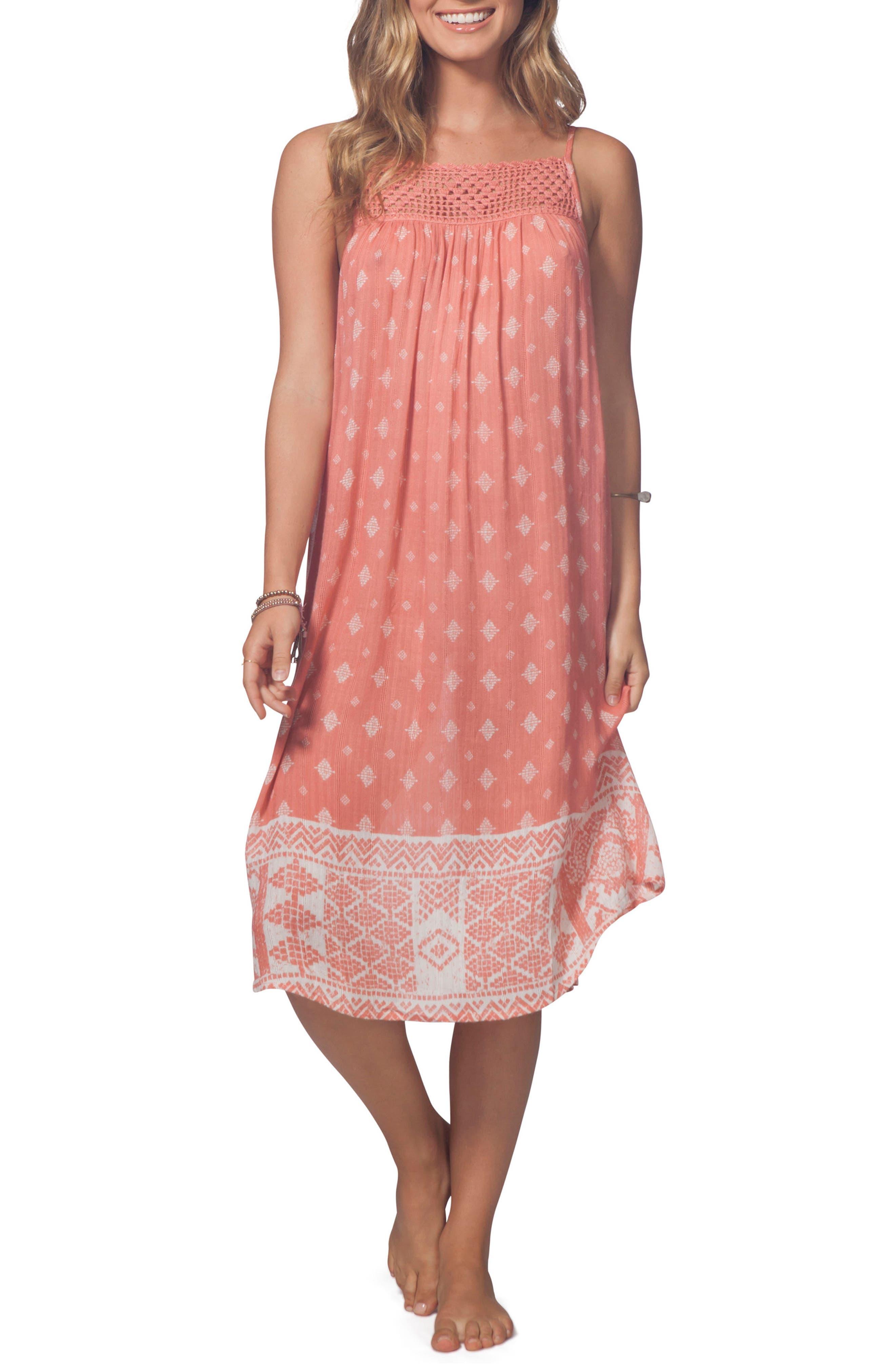 South Wind Border Crochet Neck Midi Dress,                         Main,                         color, Rust