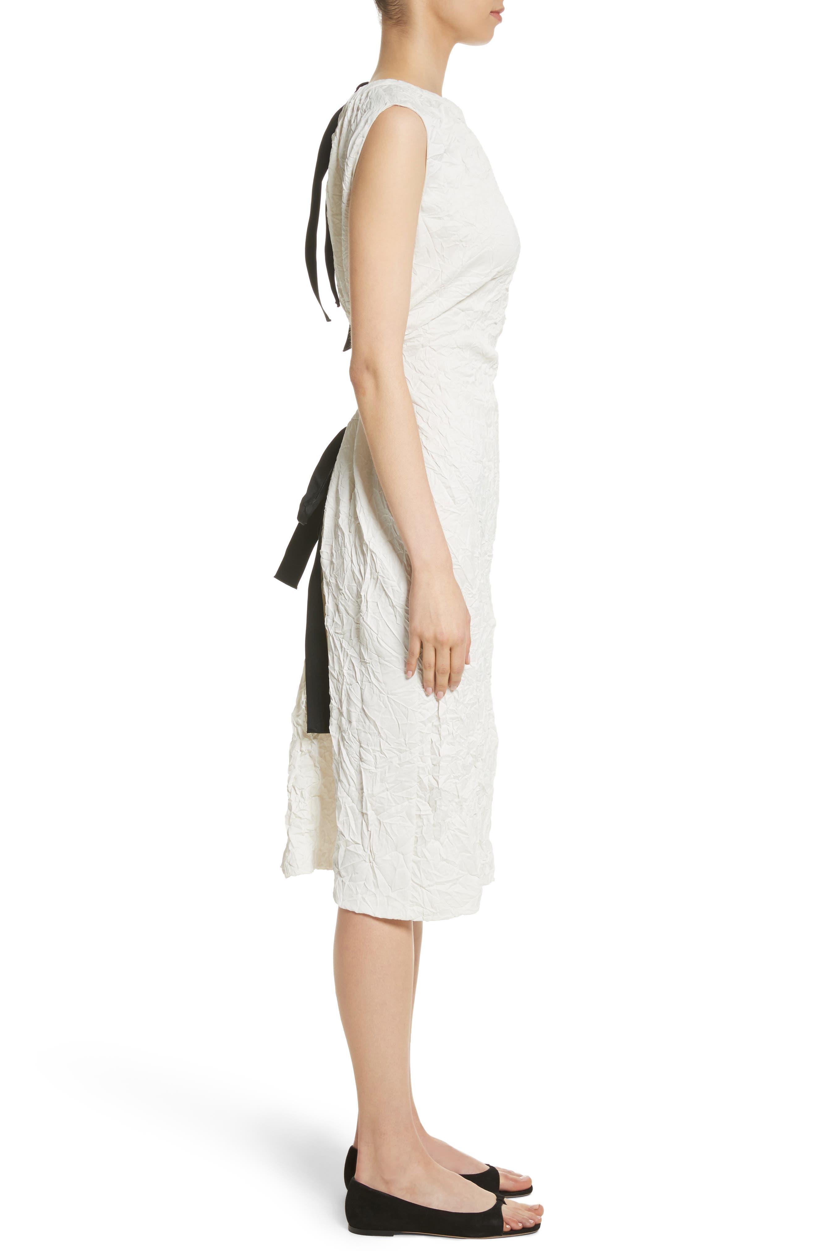 Cutout Drawstring Dress,                             Alternate thumbnail 3, color,                             Oyster