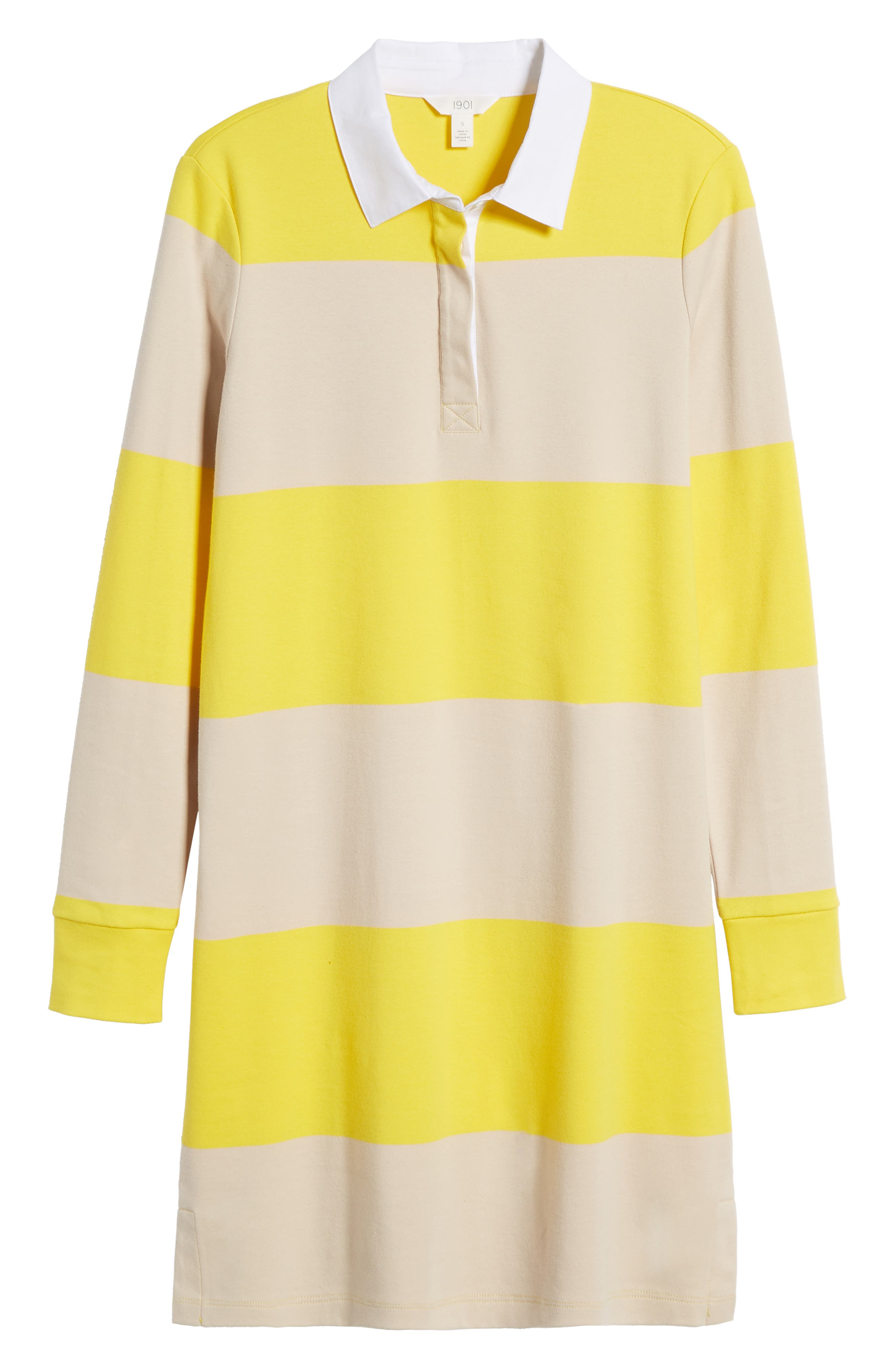Cotton Rugby Dress,                             Alternate thumbnail 6, color,                             Yellow- Beige Stripe