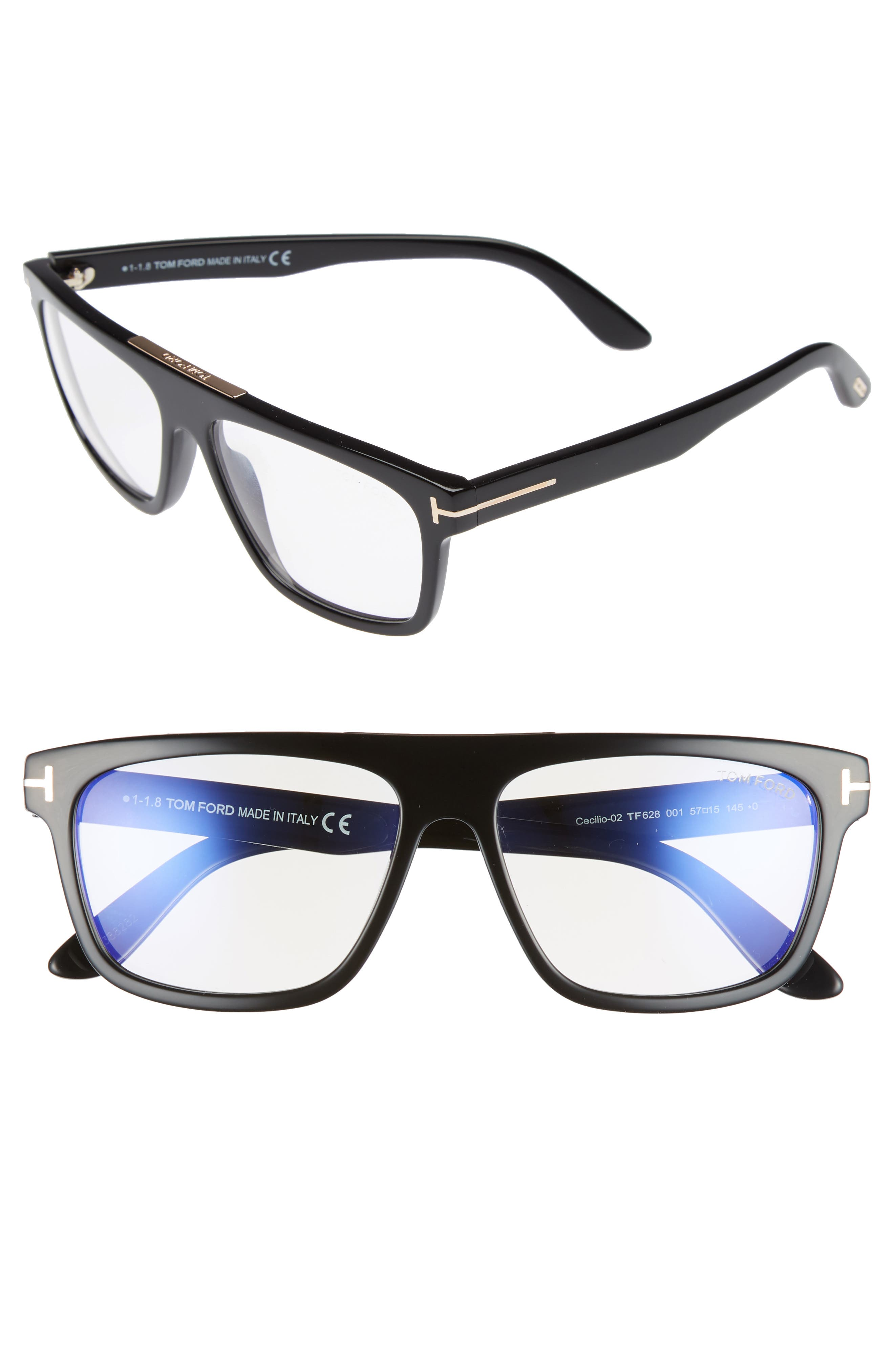 Cecilio 57mm Blue Block Optical Glasses,                             Main thumbnail 1, color,                             Shiny Black