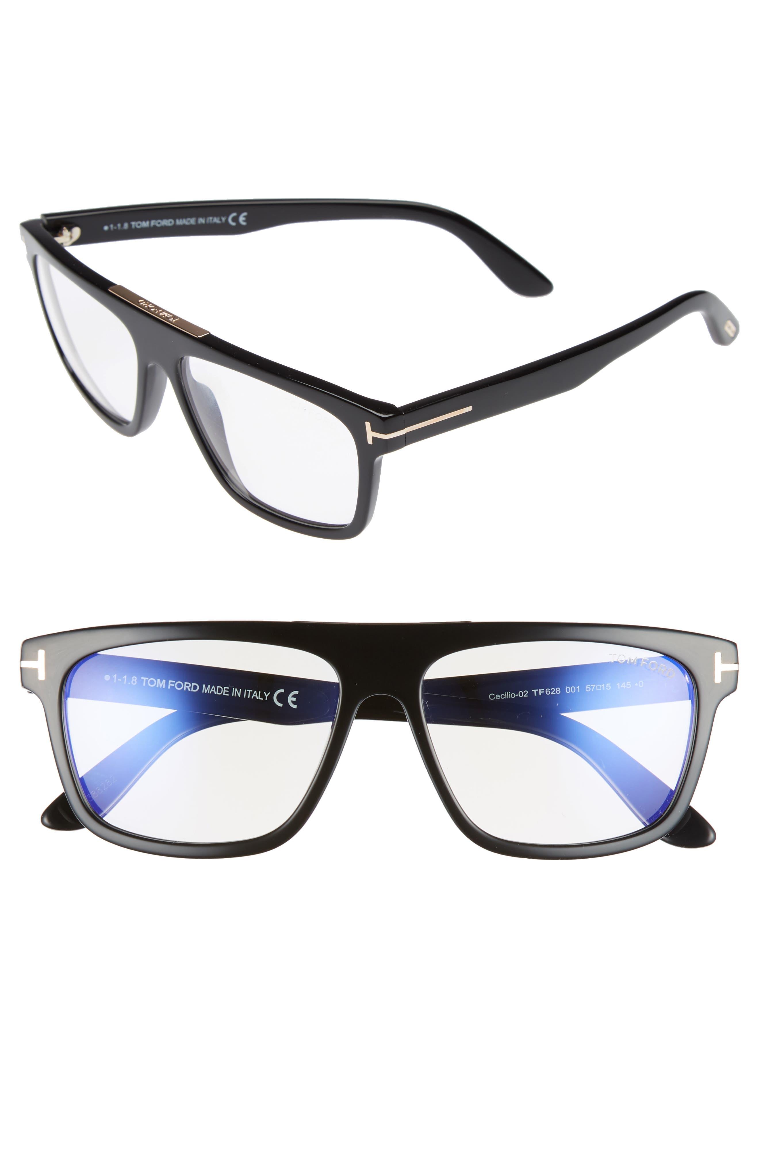 Cecilio 57mm Blue Block Optical Glasses,                         Main,                         color, Shiny Black