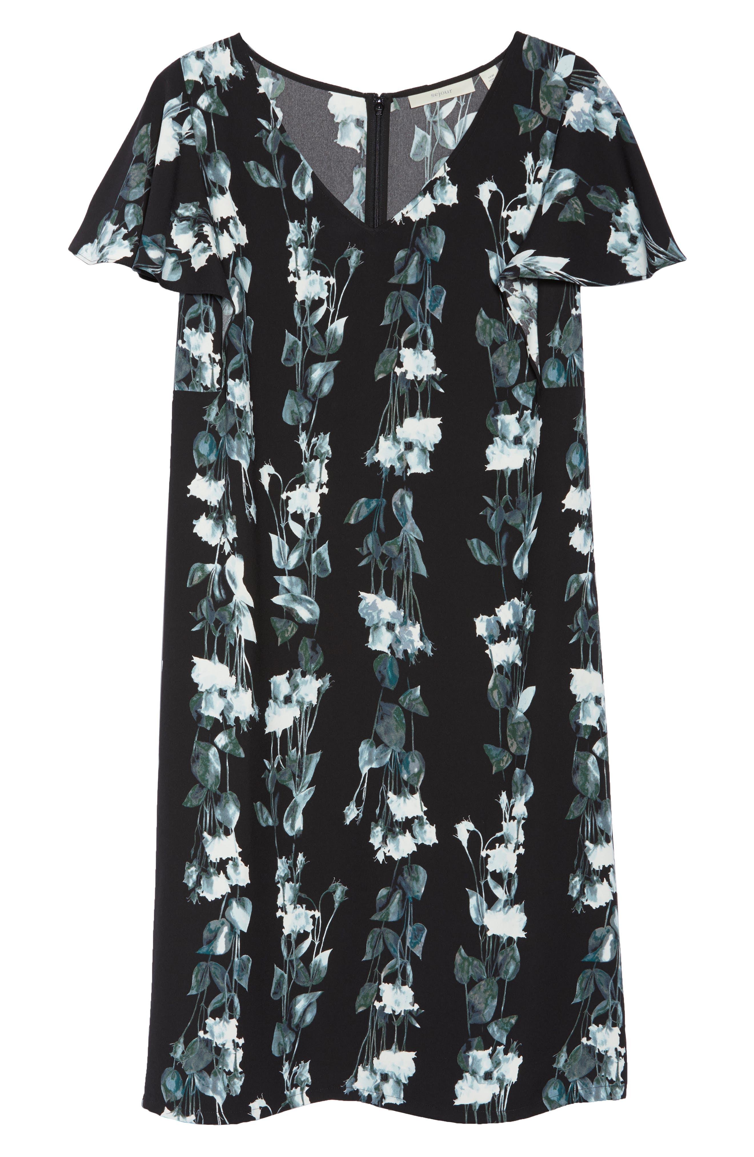 Flutter Sleeve Shift Dress,                             Alternate thumbnail 7, color,                             Black- Blue Vertical Florals