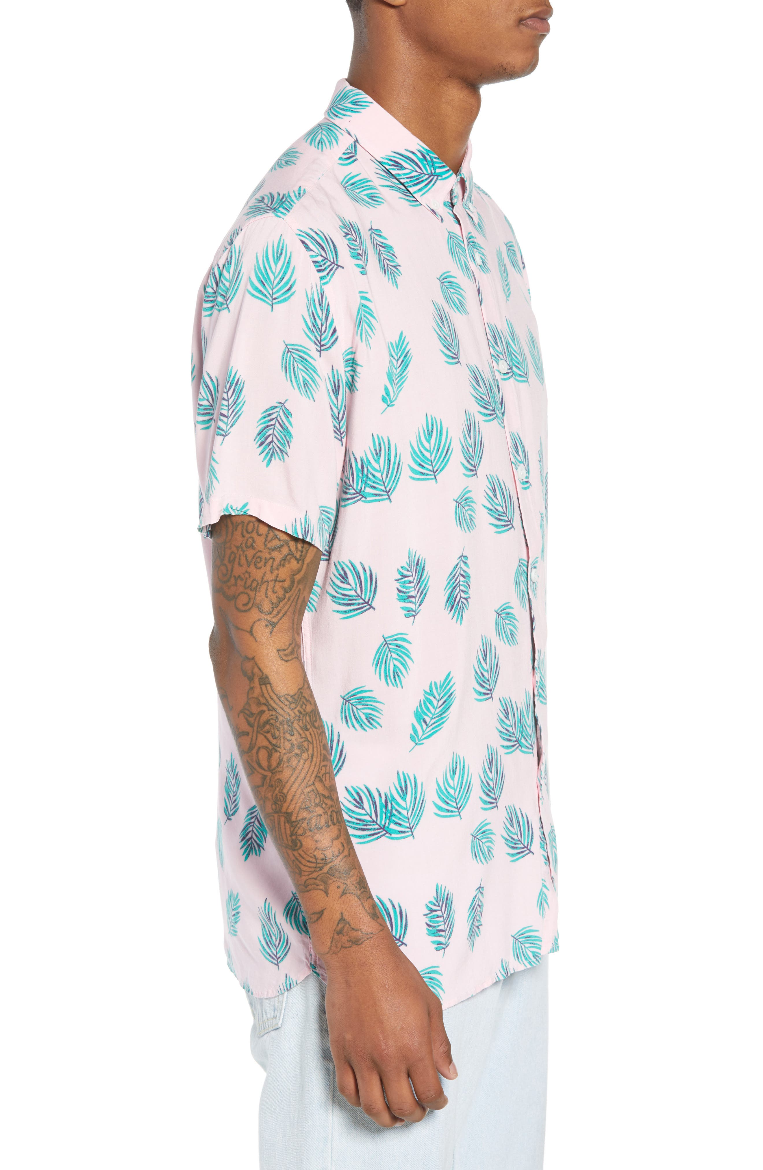 Holiday Woven Shirt,                             Alternate thumbnail 3, color,                             Pink Fern