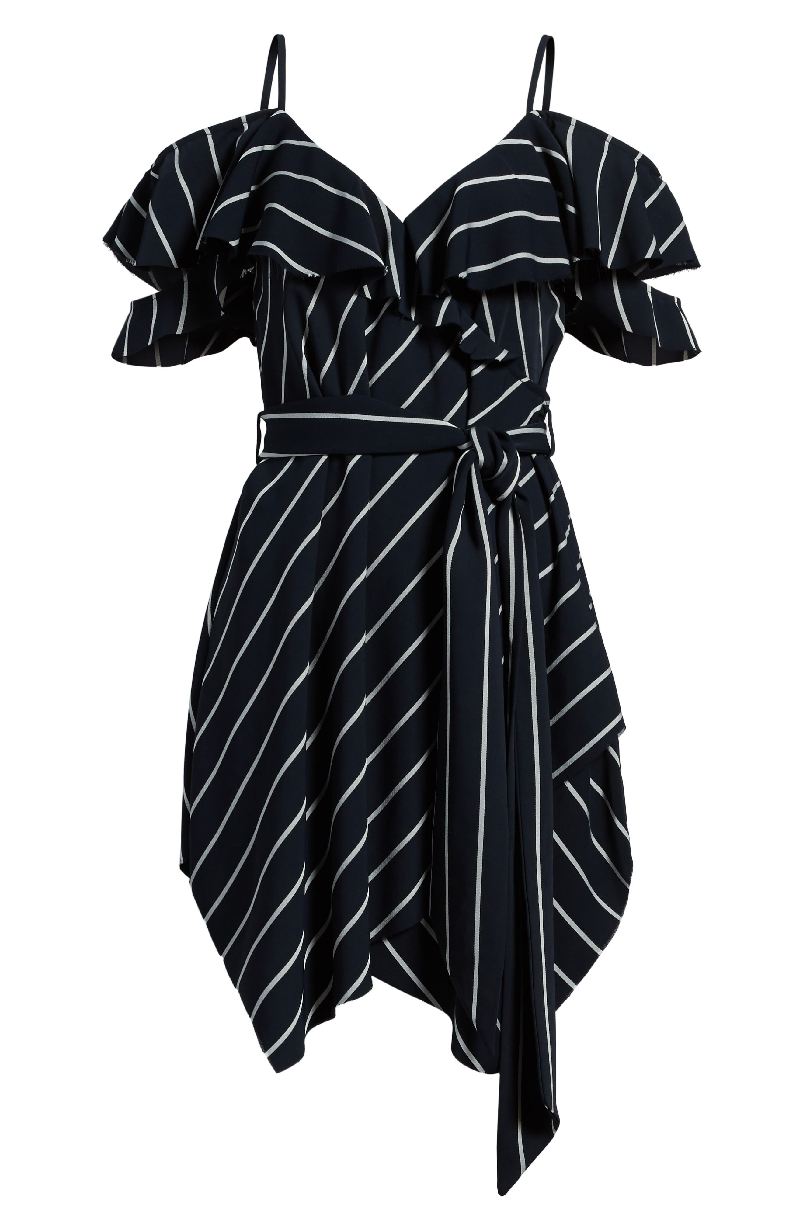 Pinstripe Ruffle Wrap Dress,                             Alternate thumbnail 7, color,                             Navy/ White