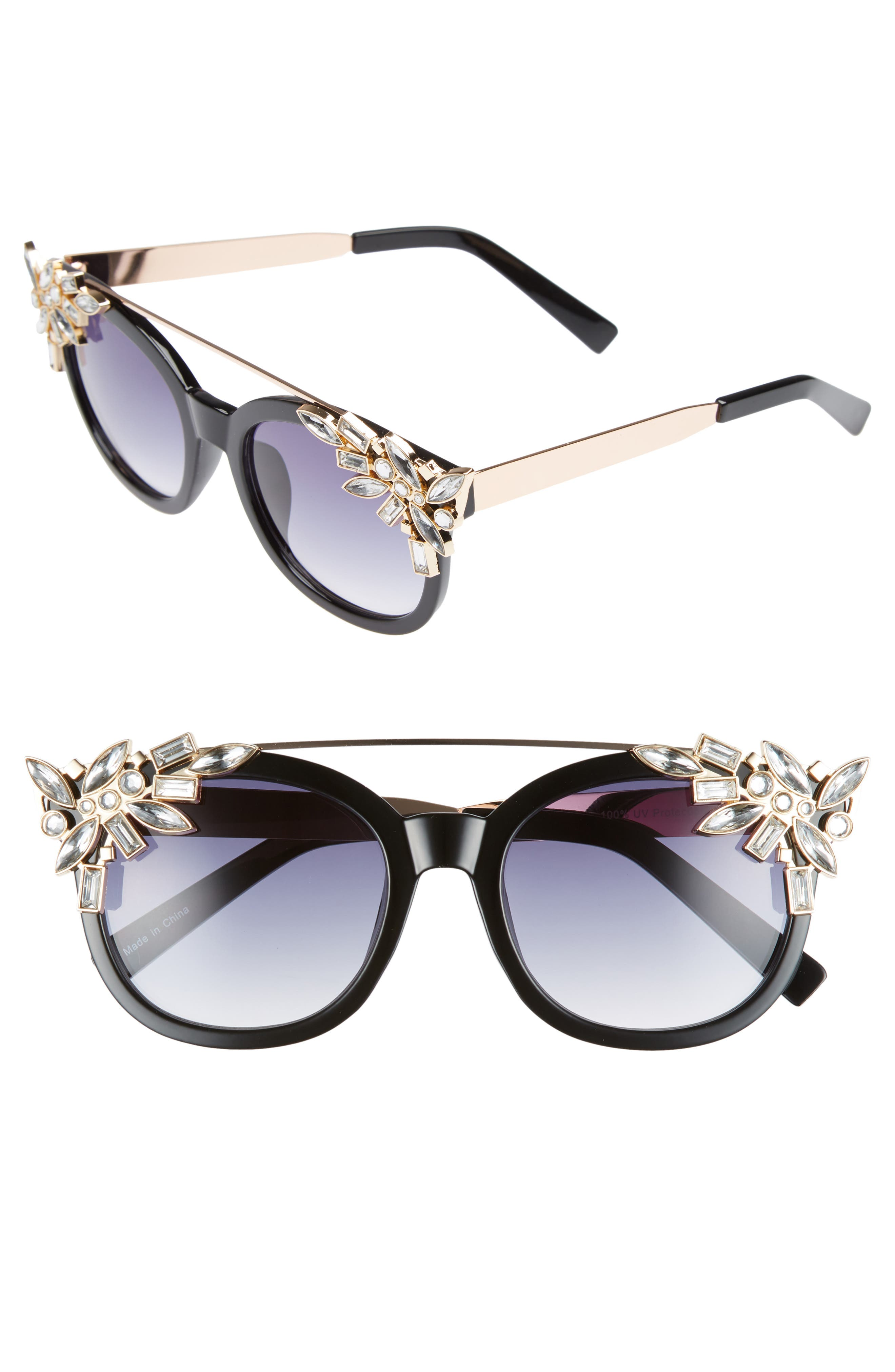 Leith 51mm Crystal Embellished Square Sunglasses