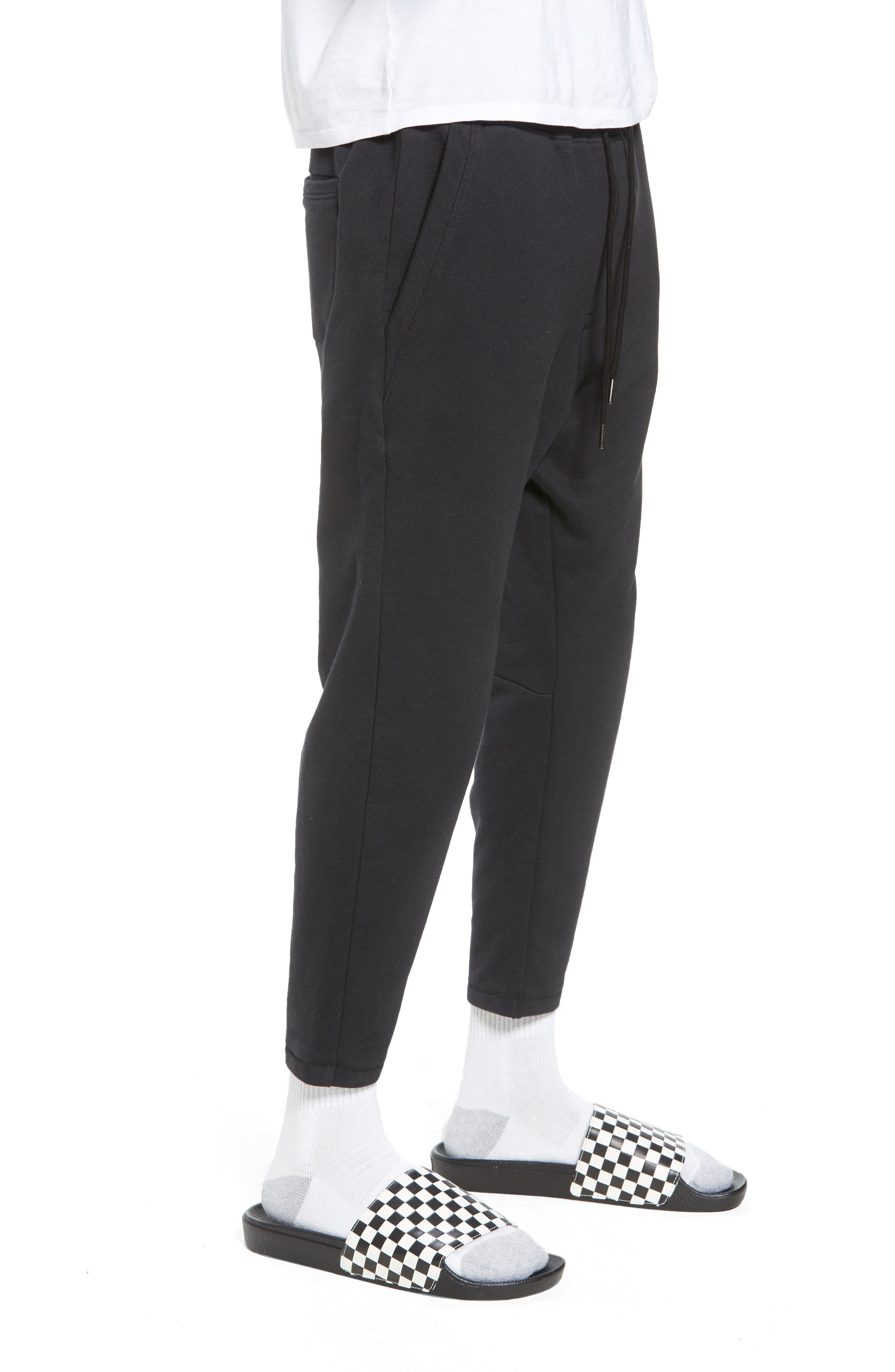 Cropped Sweatpants,                             Alternate thumbnail 3, color,                             Black Rock