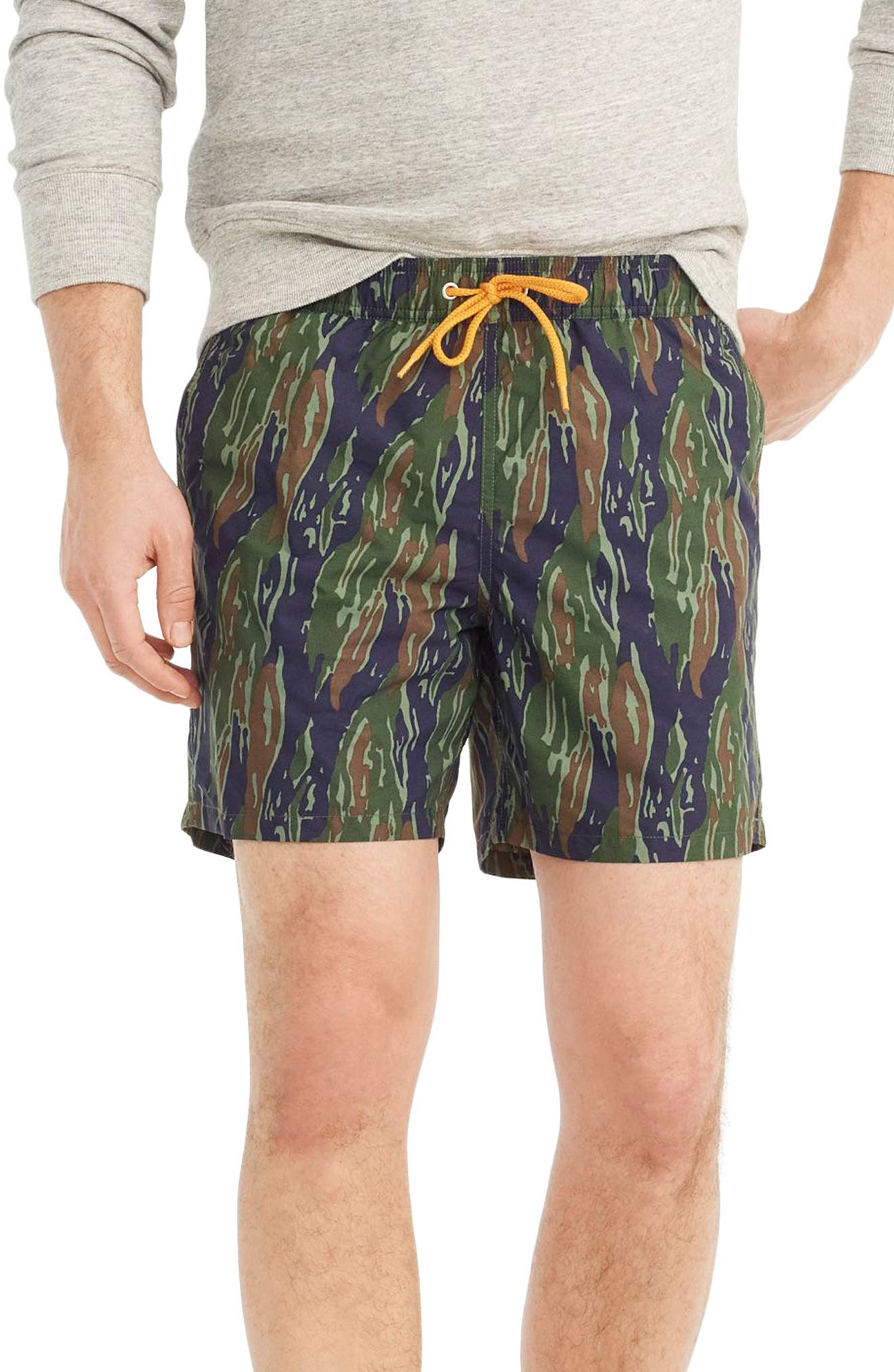 J.Crew Camo Swim Trunks,                             Main thumbnail 1, color,                             Tiger Stripe Camo