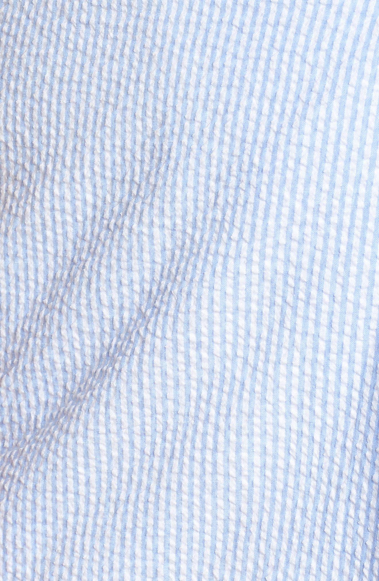 Bow Shoulder Seersucker Dress,                             Alternate thumbnail 7, color,                             Blue Seersucker Stripe