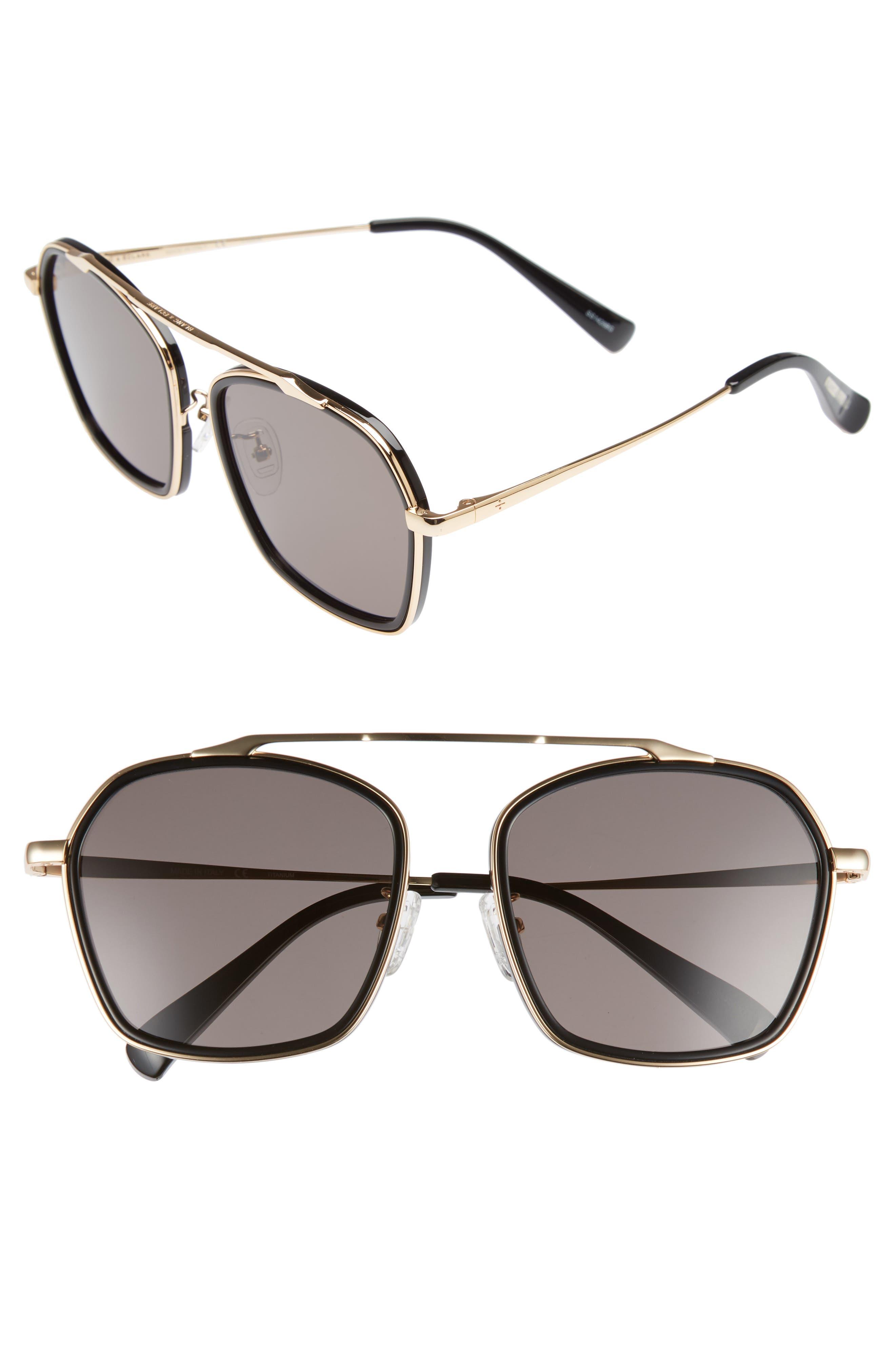 BLANC & ECLARE Vancouver 58mm Polarized Aviator Sunglasses,                         Main,                         color, Black/ Gold/ Smog Grey