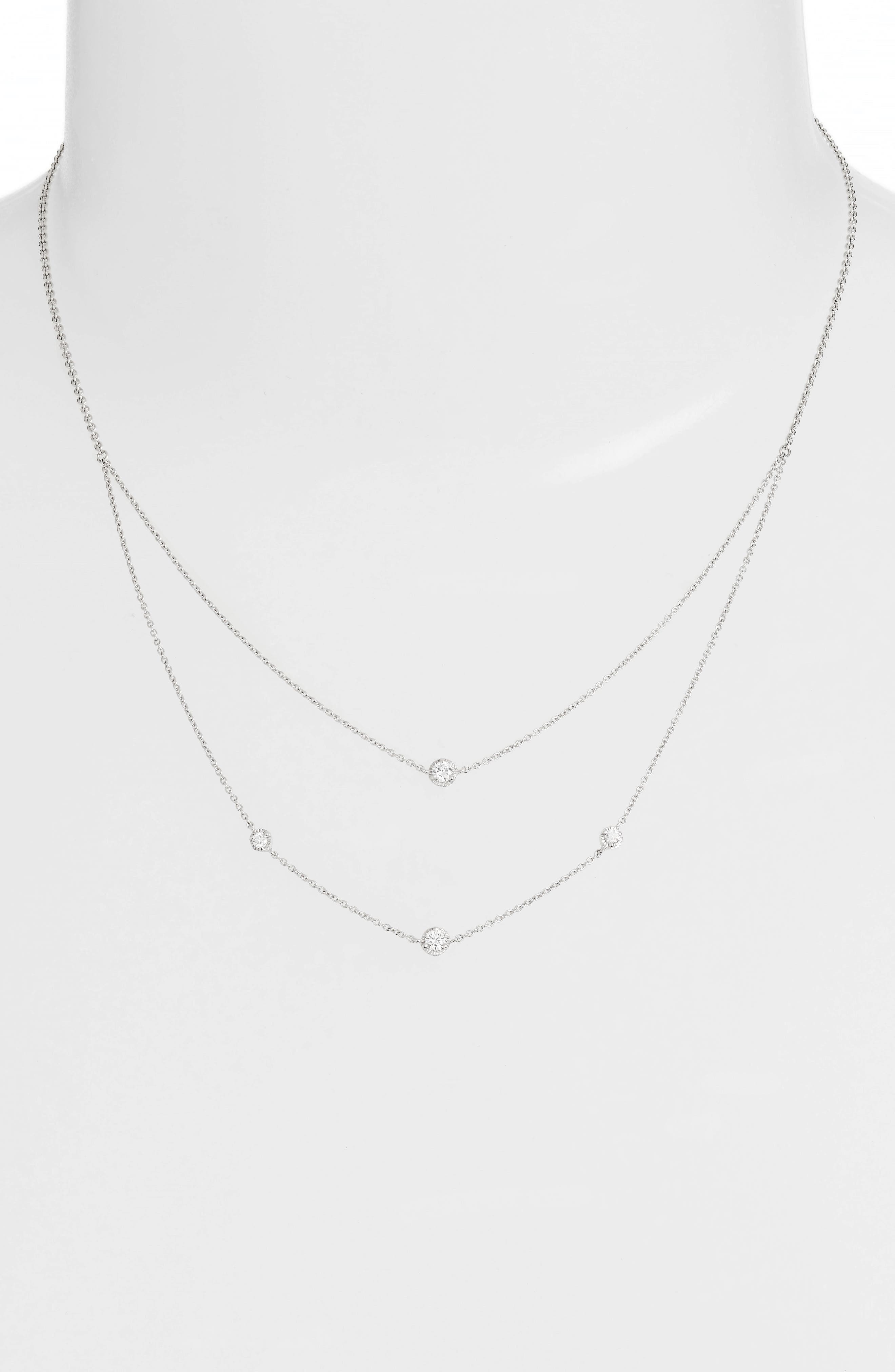 Mila Double Layer Diamond Station Necklace,                             Alternate thumbnail 2, color,                             White Gold