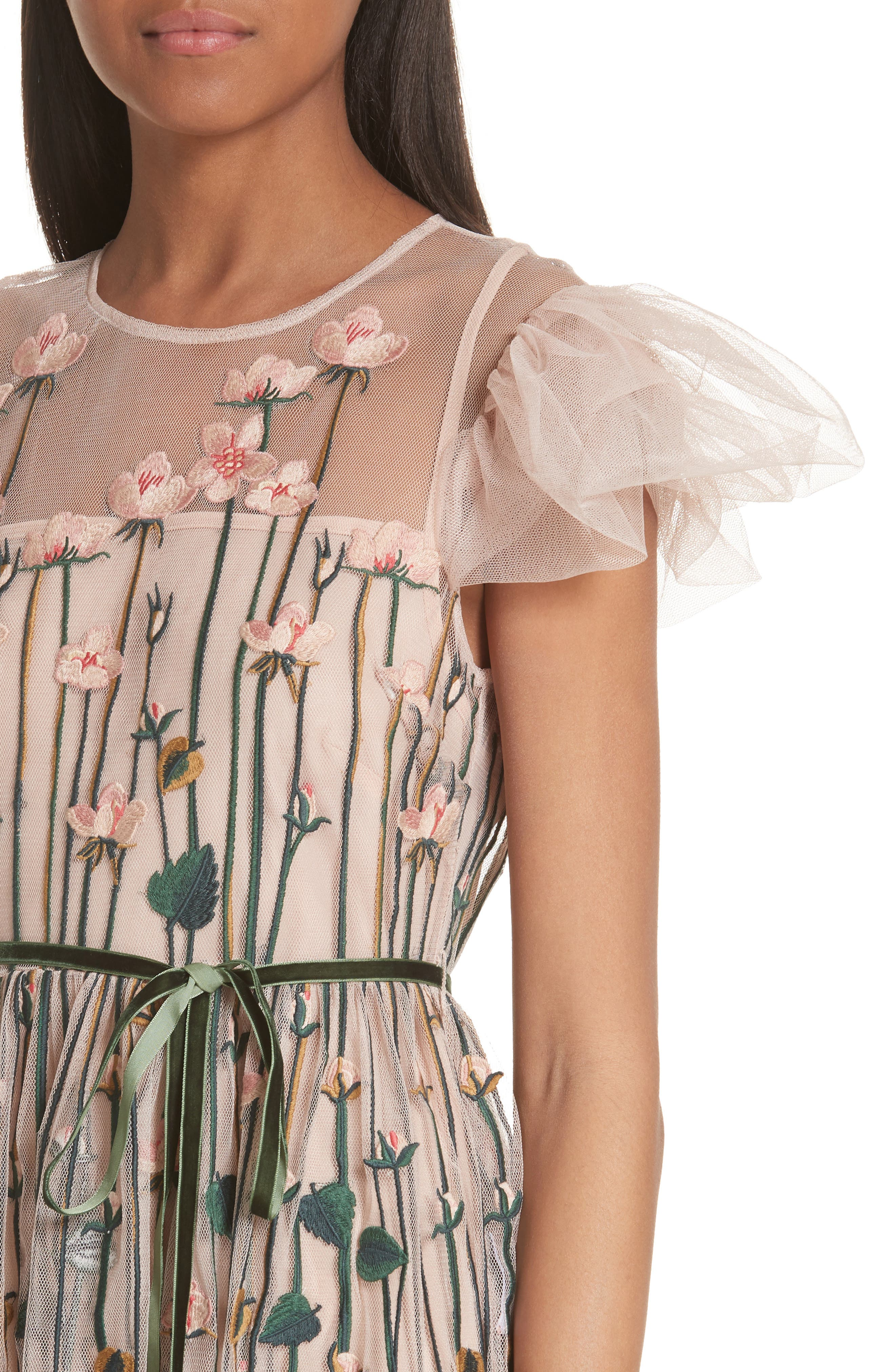 Floral Embroidered Dress,                             Alternate thumbnail 4, color,                             Nude