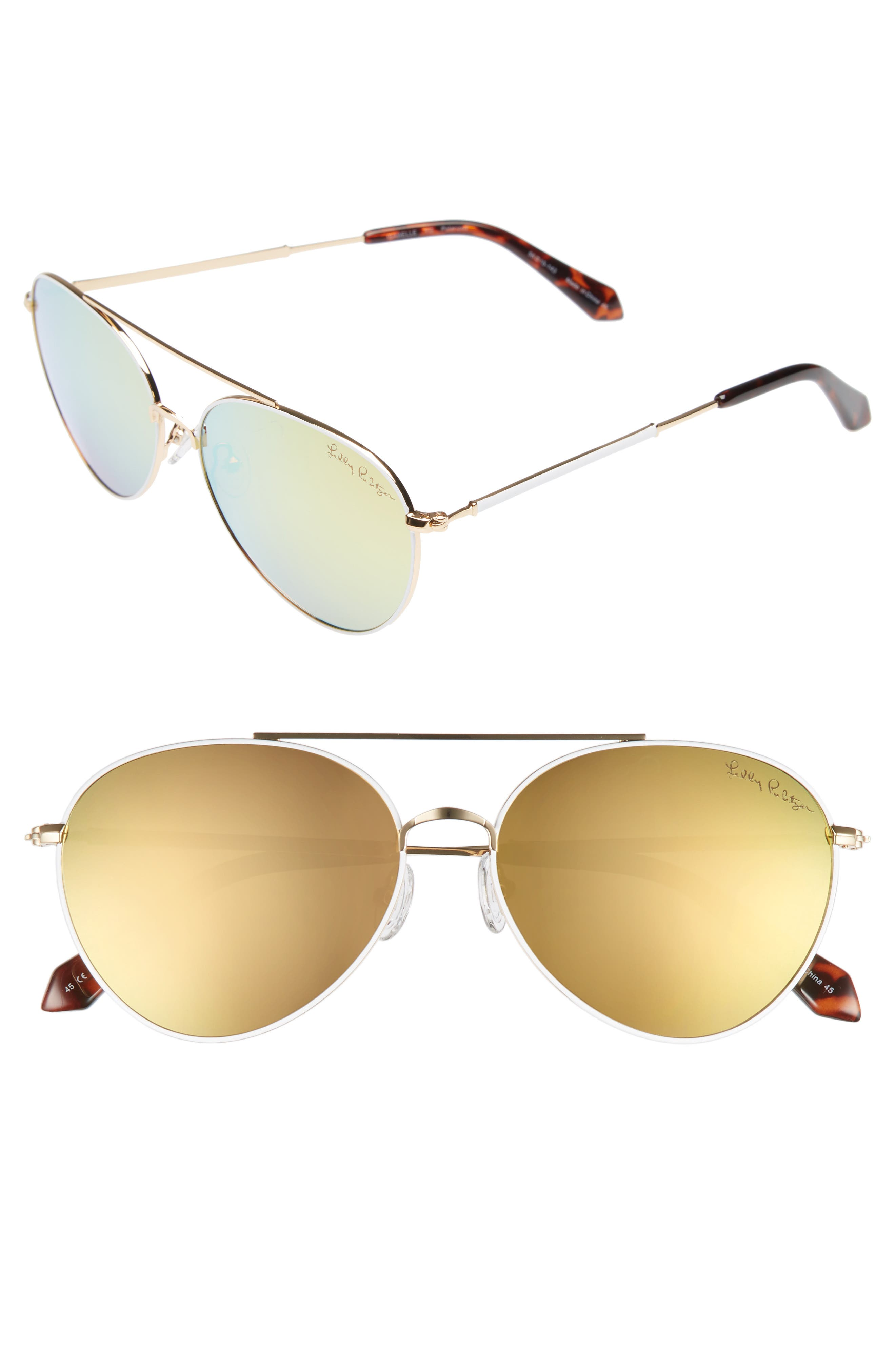Isabelle 56mm Polarized Metal Aviator Sunglasses,                         Main,                         color, Gold/ Gold