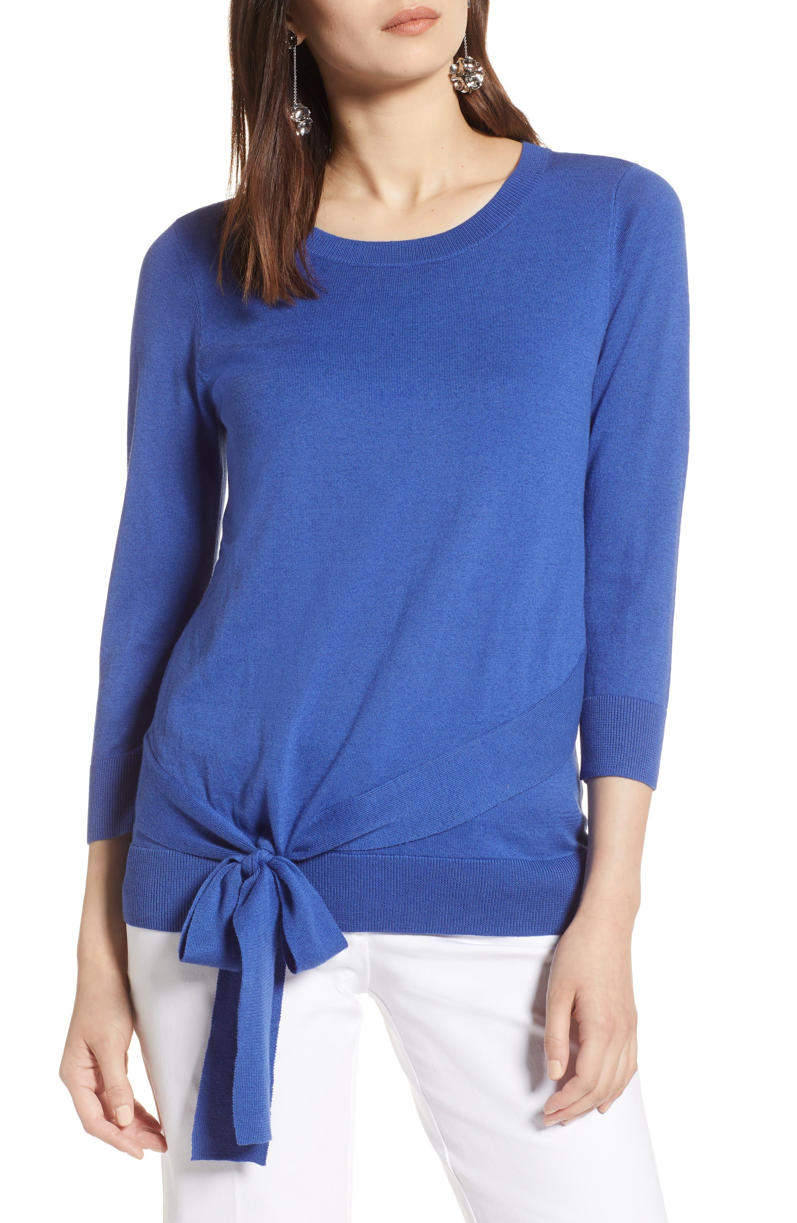 Pima Cotton Blend Tie Sweater,                             Main thumbnail 1, color,                             Blue Marine