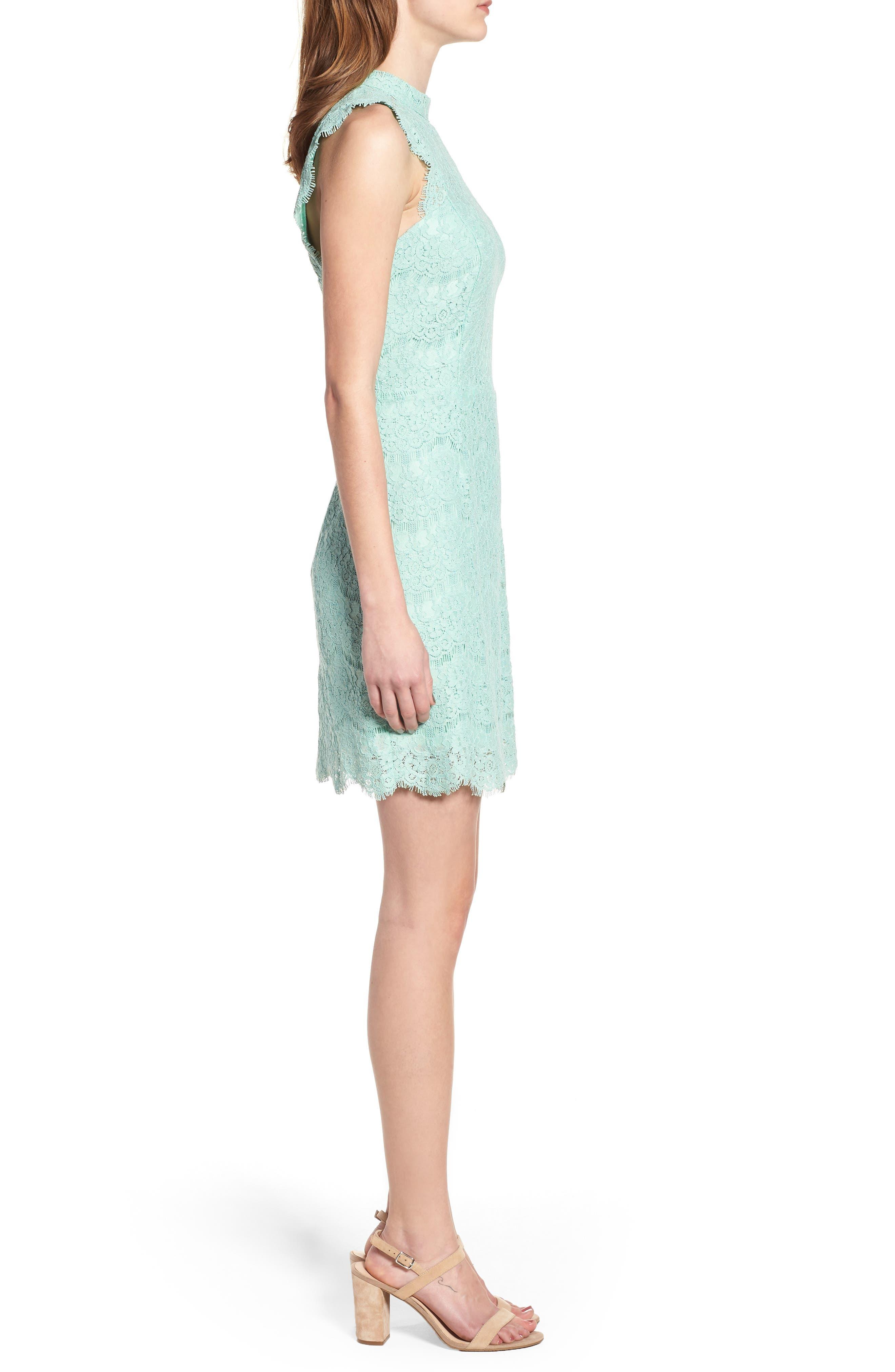Lace Body-Con Minidress,                             Alternate thumbnail 3, color,                             Lichen
