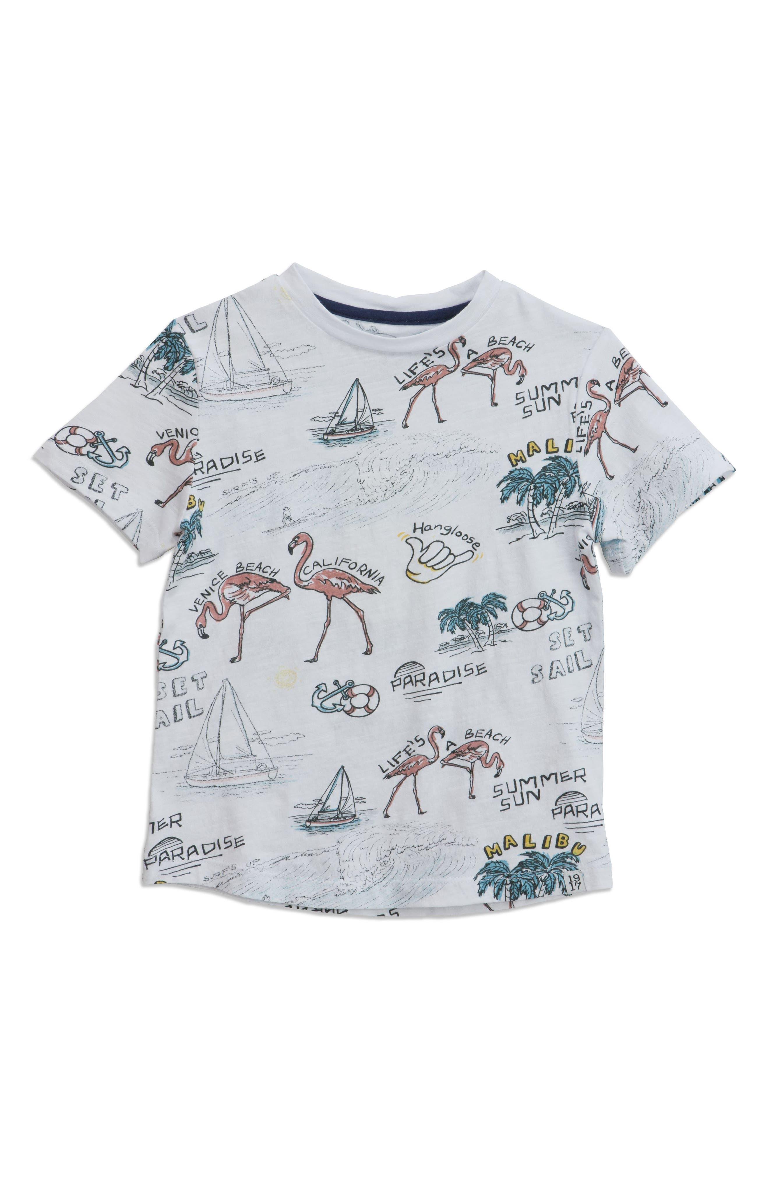 Beach Print T-Shirt,                             Main thumbnail 1, color,                             White