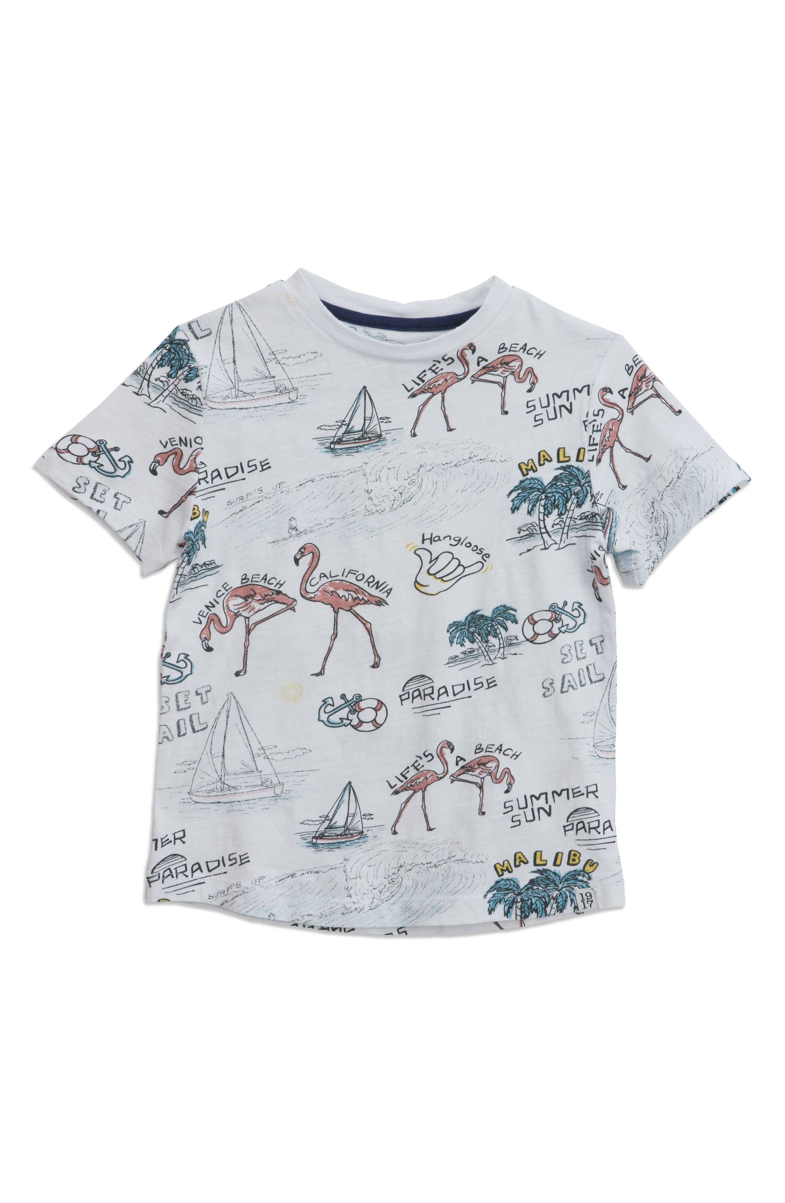 Beach Print T-Shirt,                         Main,                         color, White