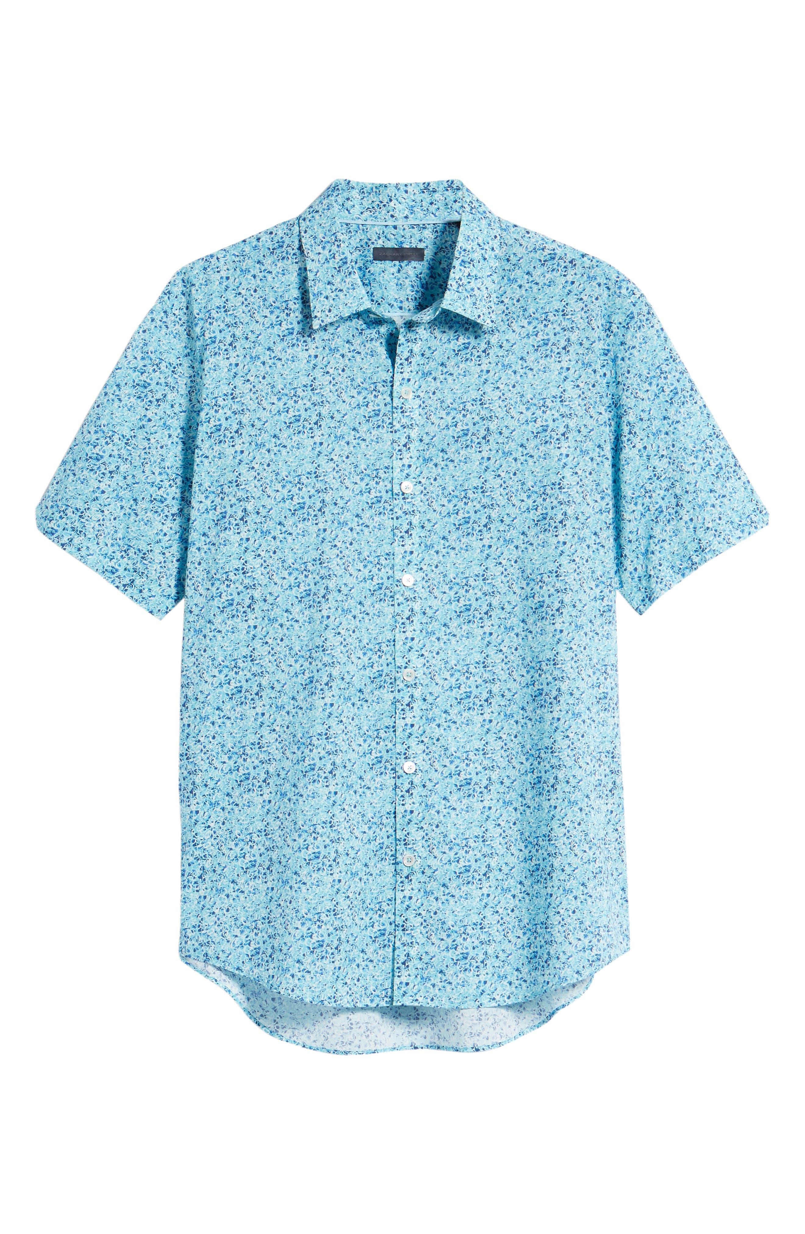 Kincaid Scribble Print Sport Shirt,                             Alternate thumbnail 6, color,                             Aqua