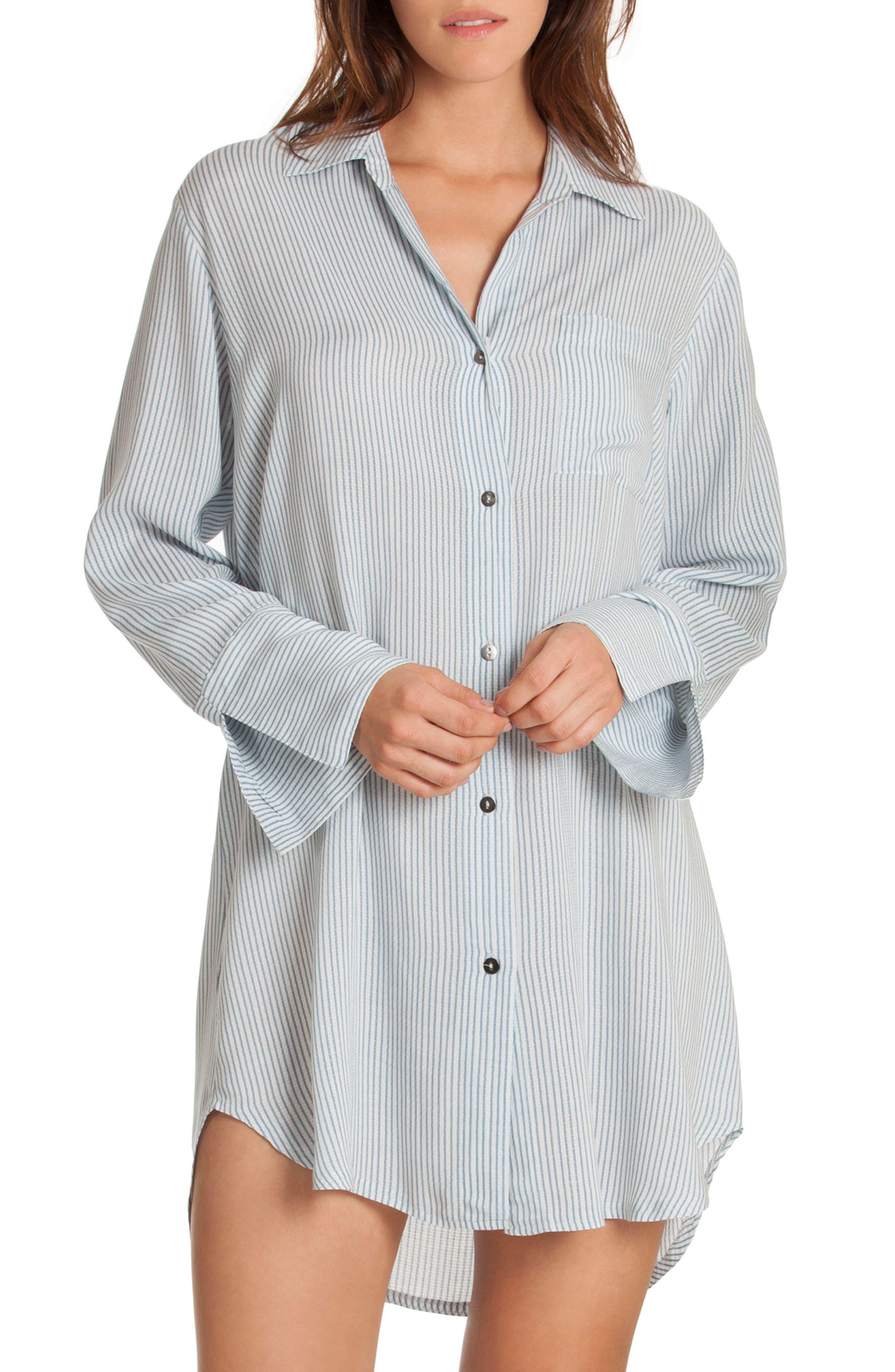 Sleep Shirt,                         Main,                         color, Denim Stripe