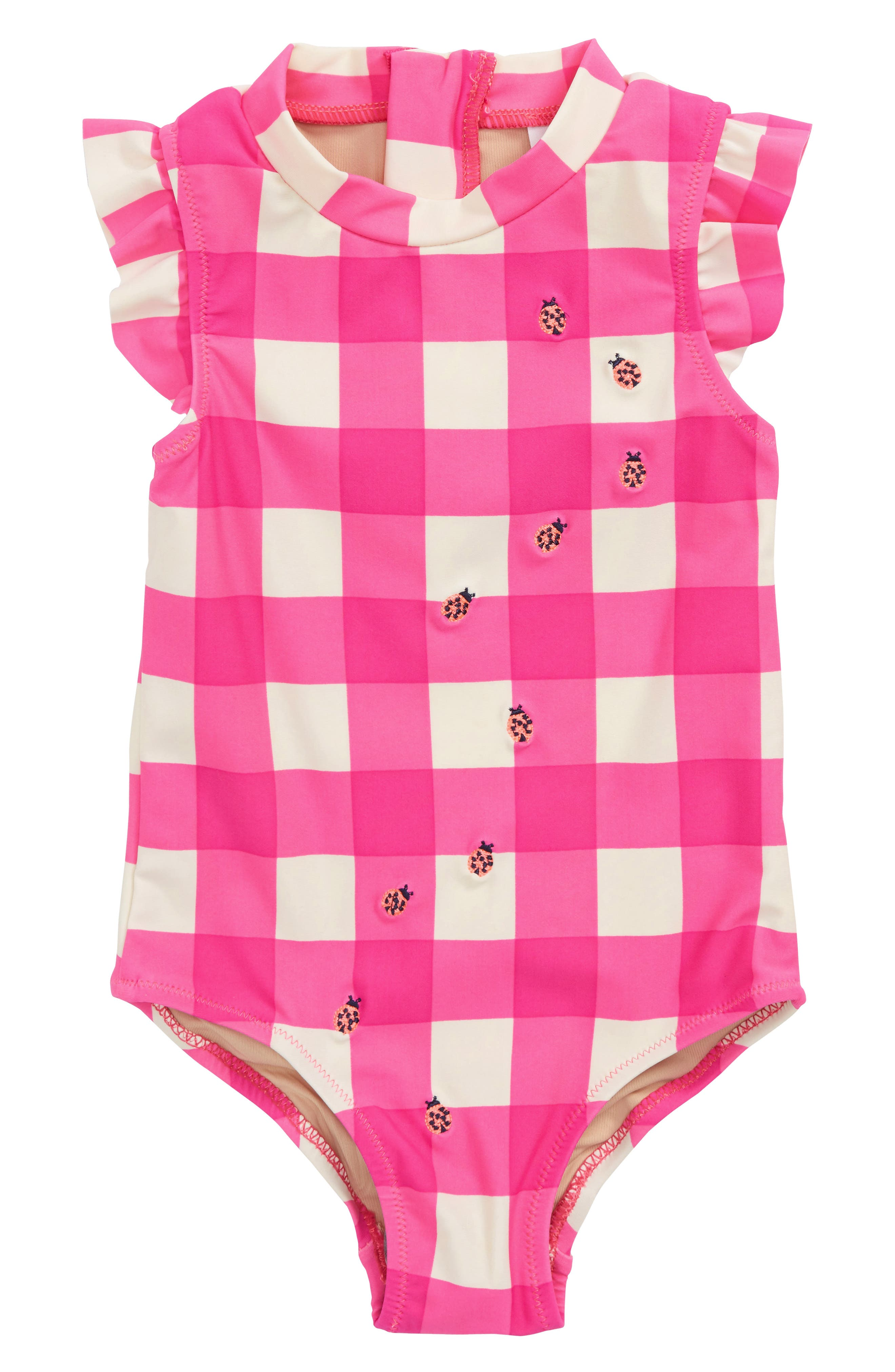 Embroidered Ladybug Gingham One-Piece Swimsuit,                         Main,                         color, Hot Pink