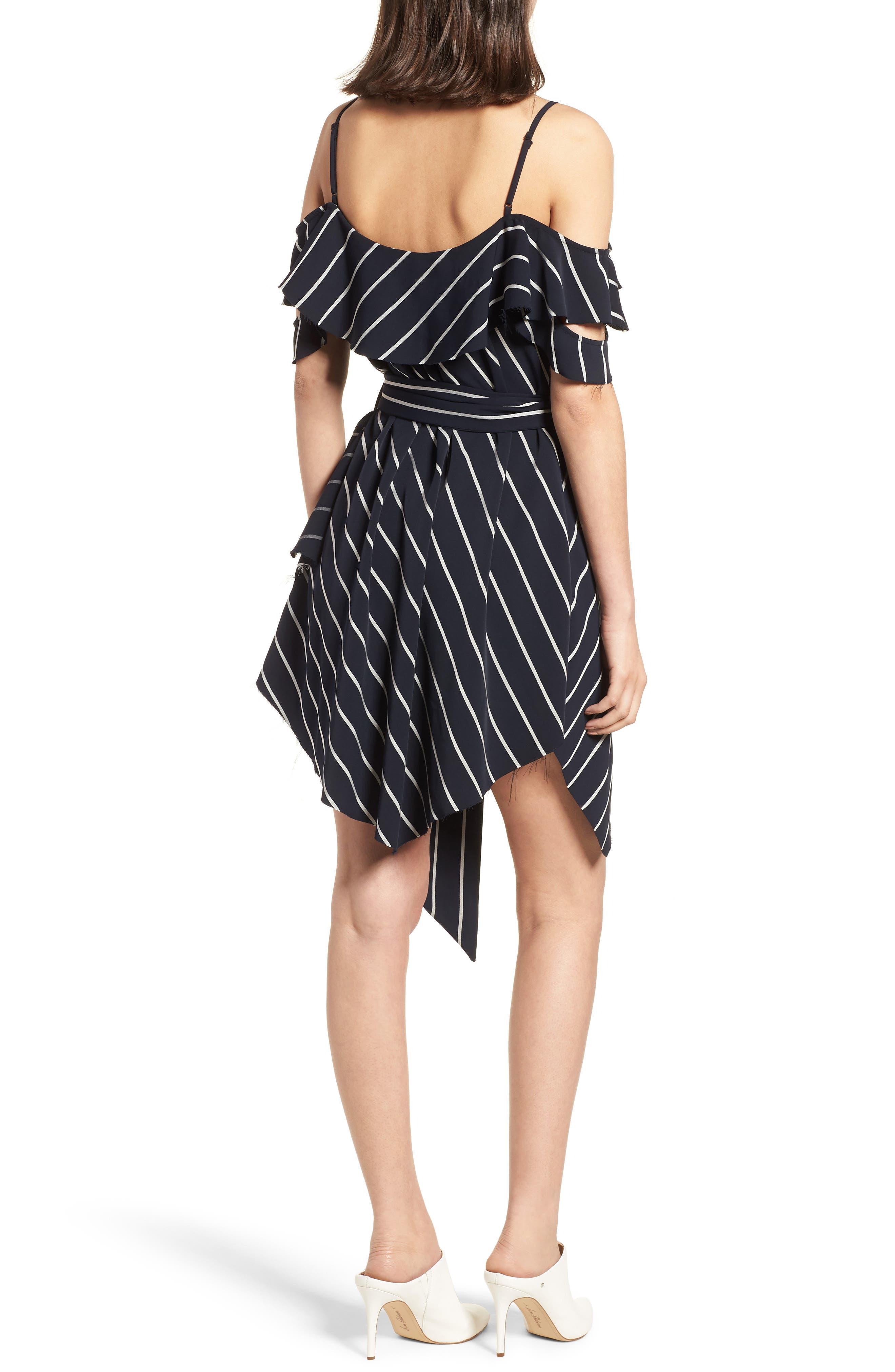 Pinstripe Ruffle Wrap Dress,                             Alternate thumbnail 2, color,                             Navy/ White