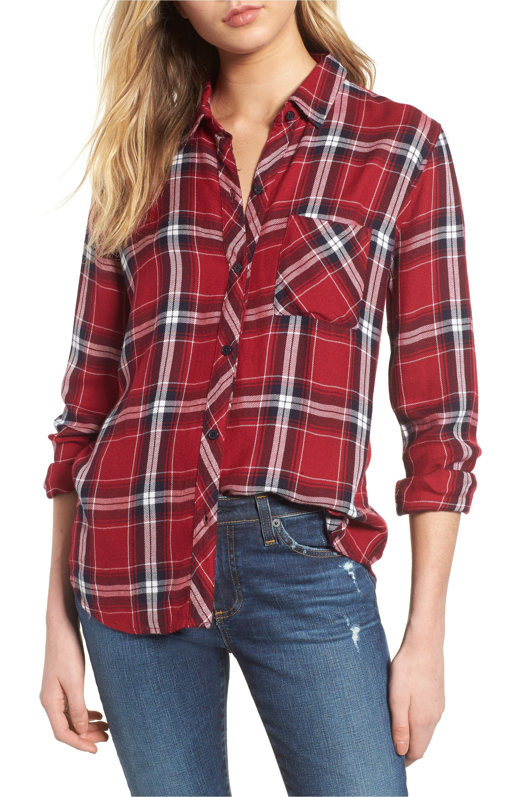 Hunter Plaid Shirt,                         Main,                         color, Cranberry Ink White