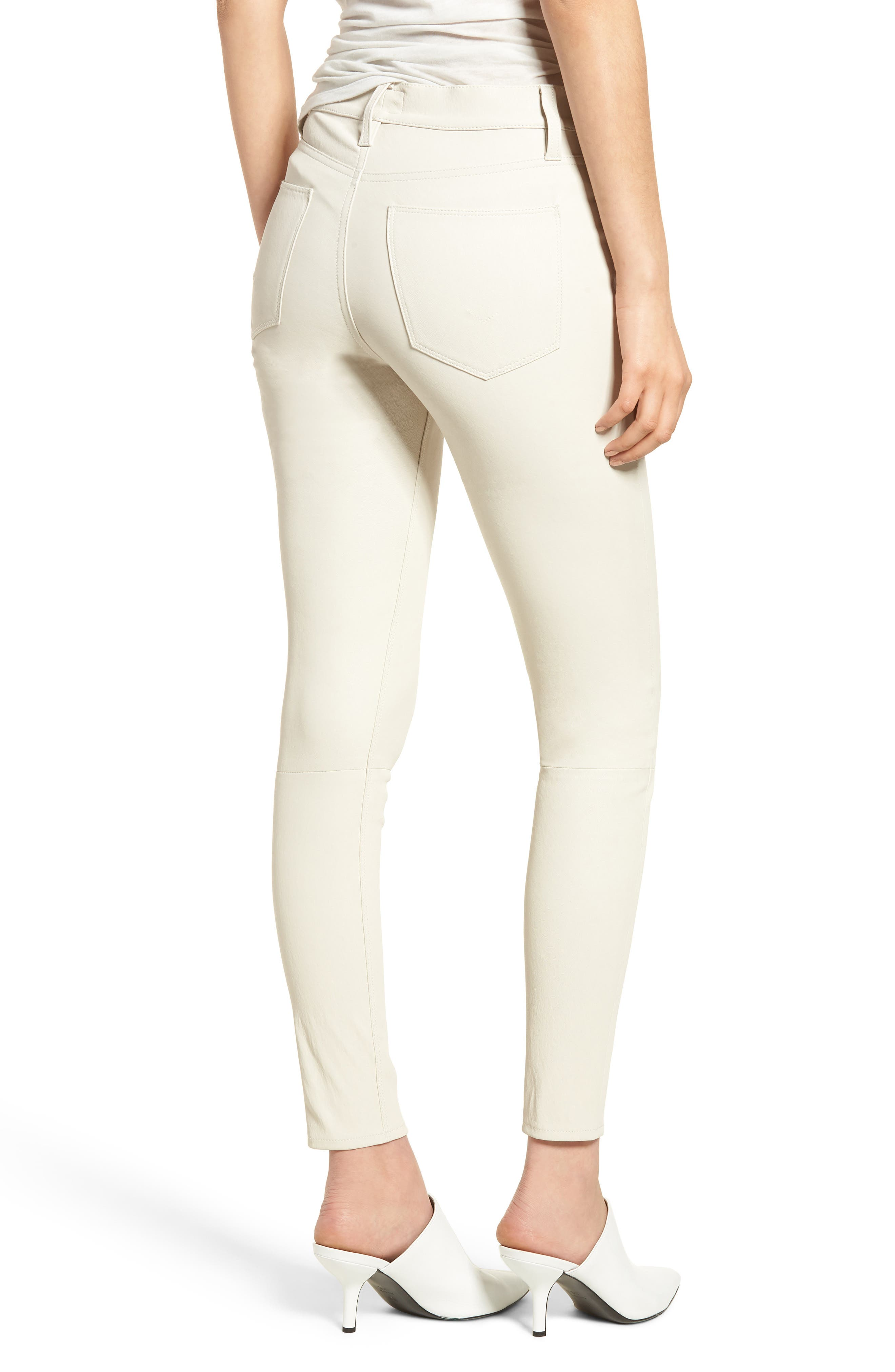 Barbara High Waist Super Skinny Leather Jeans,                             Alternate thumbnail 2, color,                             Pale White