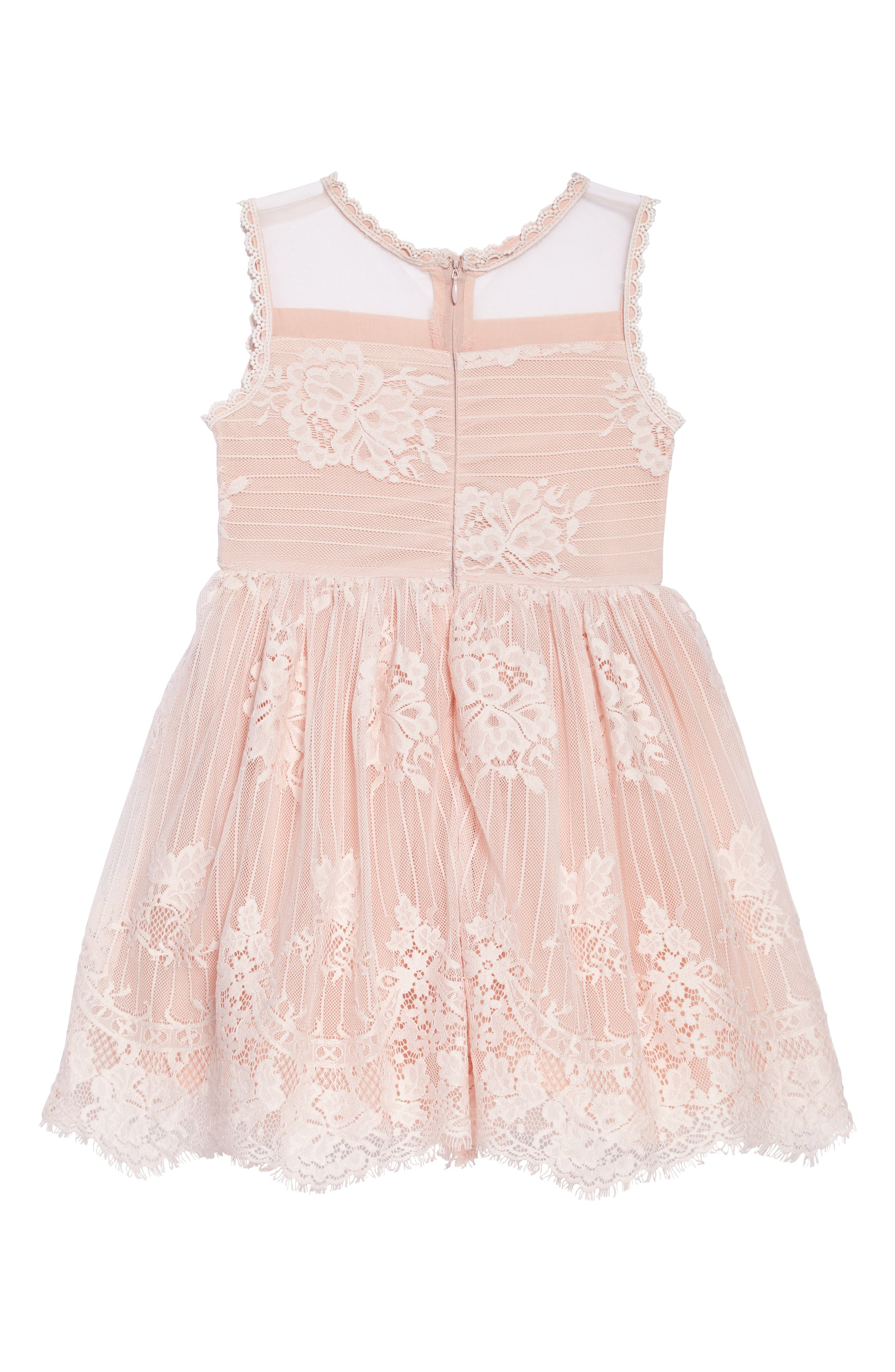 Lace Fit & Flare Dress,                             Alternate thumbnail 2, color,                             Pink