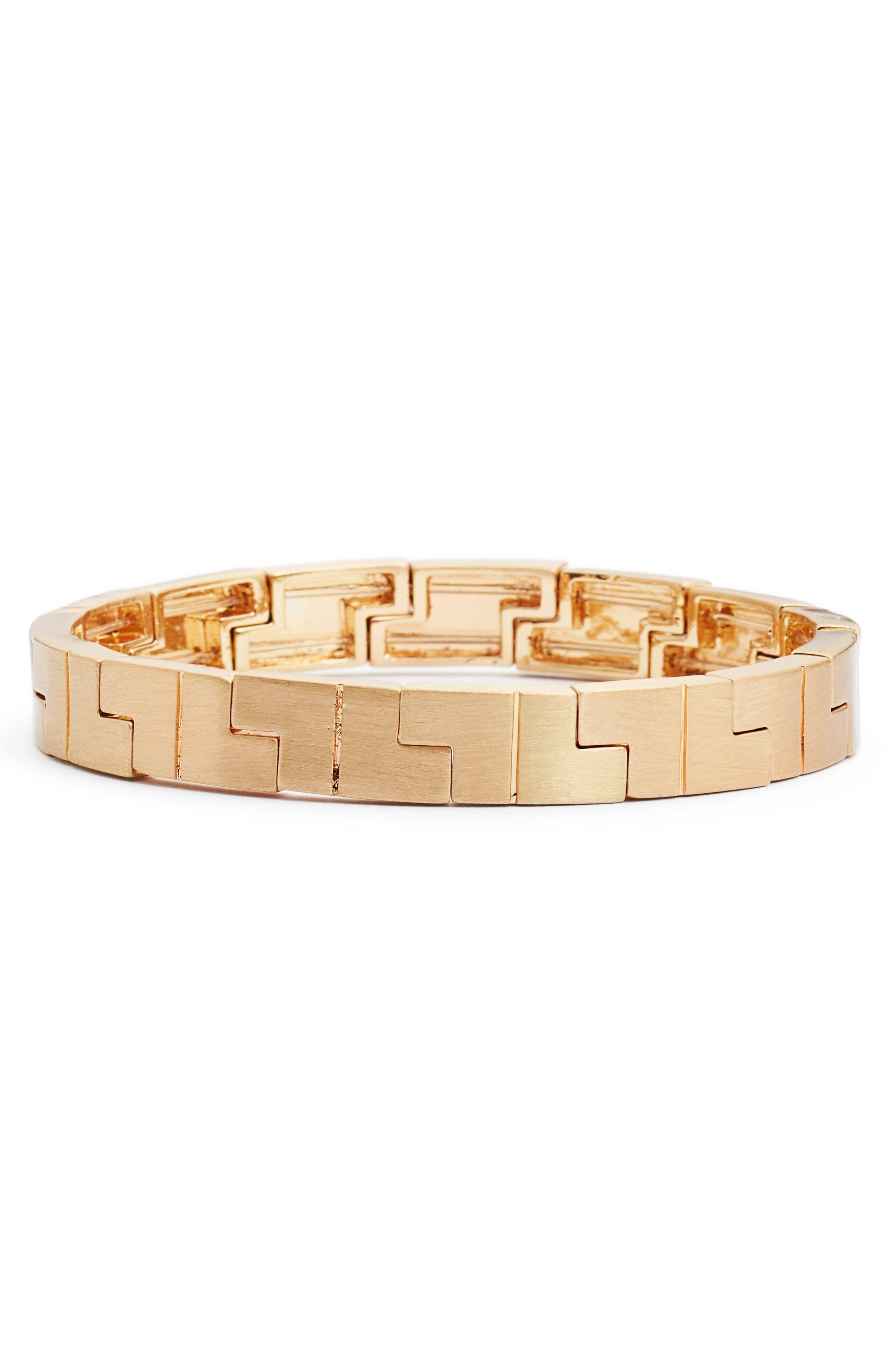Jigsaw Stretch Bracelet,                         Main,                         color, Gold
