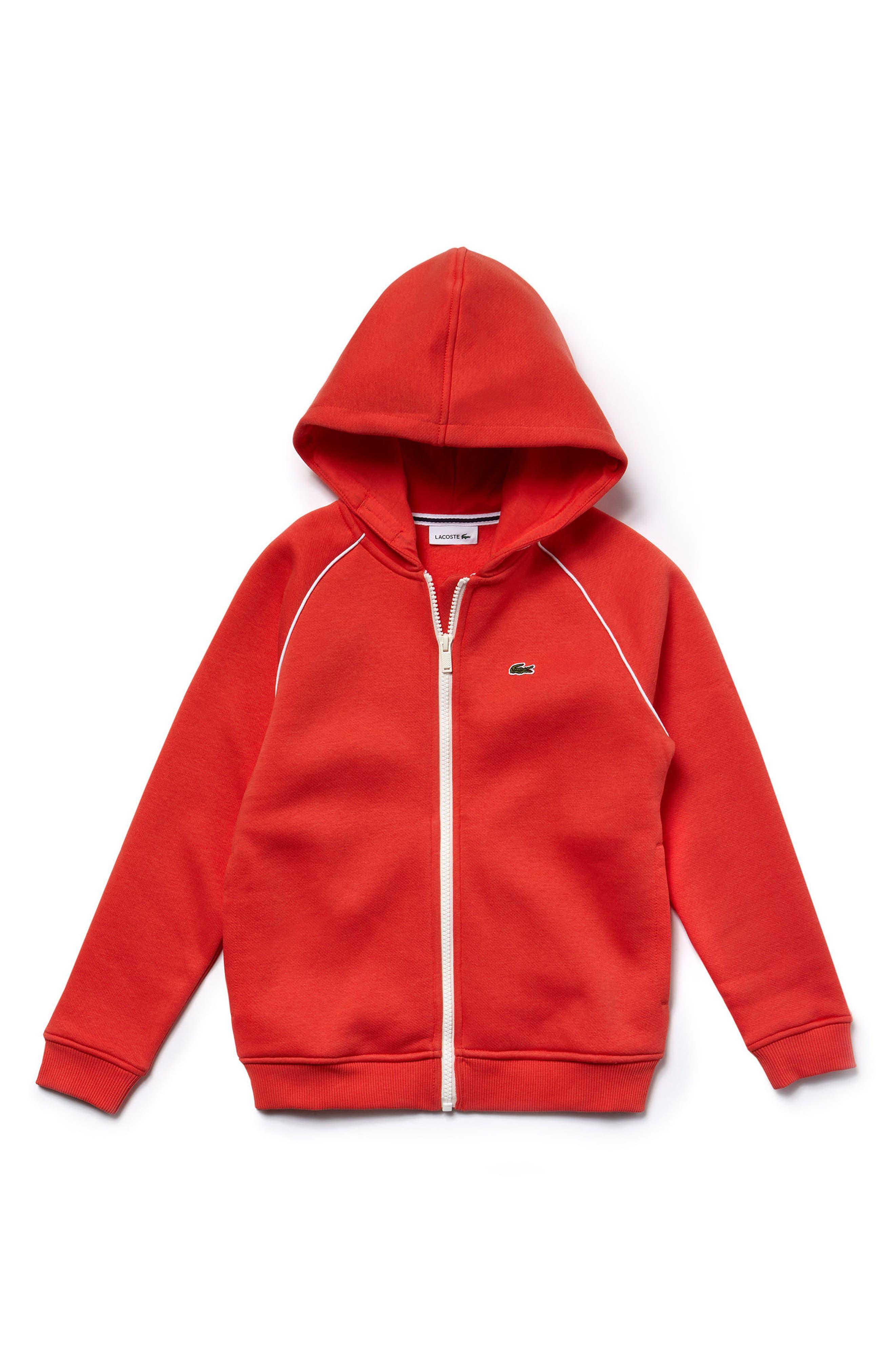 Zip Hoodie,                         Main,                         color, Watermelon Orange/ White