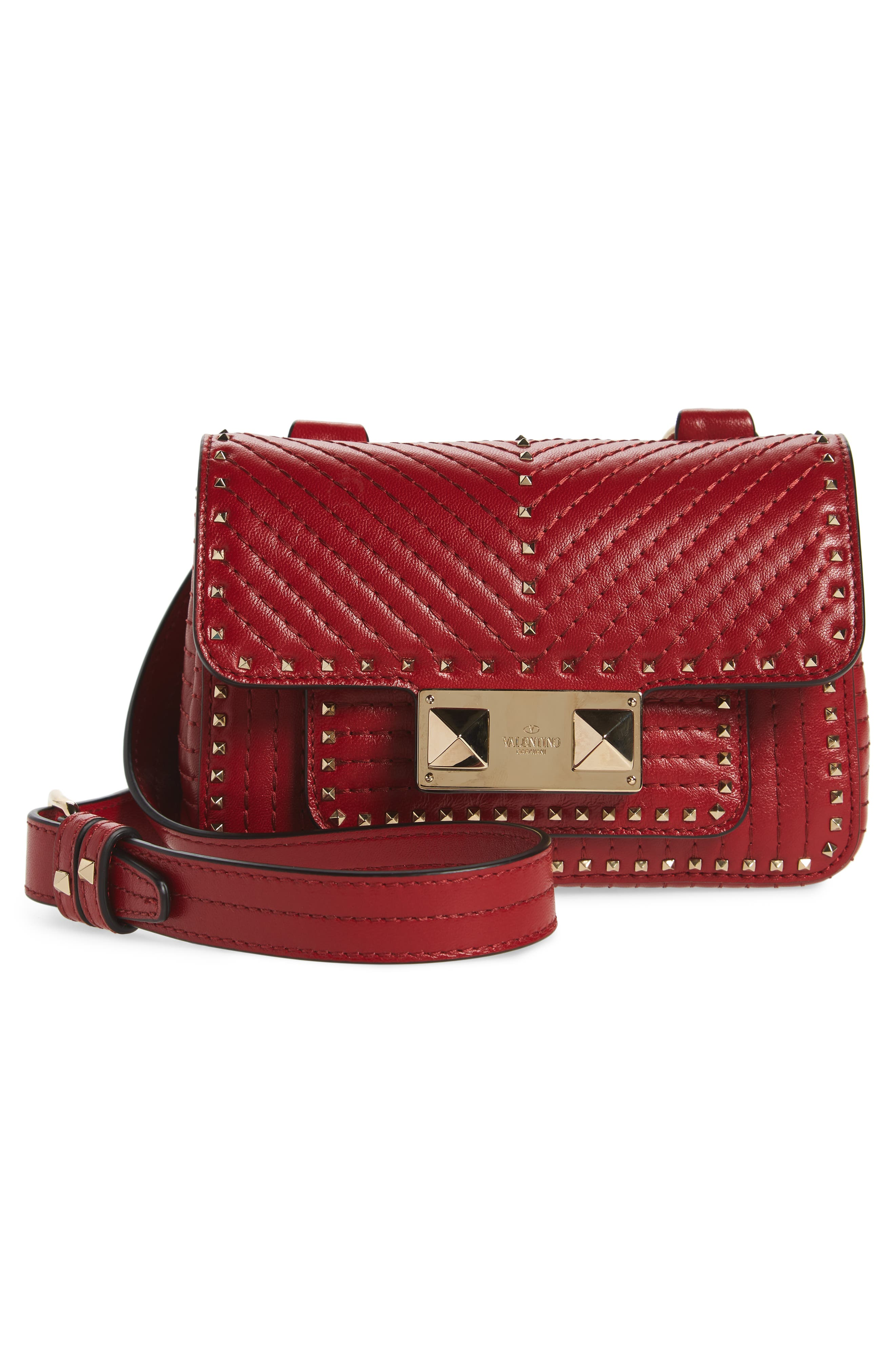 Mini Ziggystud Leather Convertible Crossbody/Belt Bag,                             Alternate thumbnail 4, color,                             Rosso