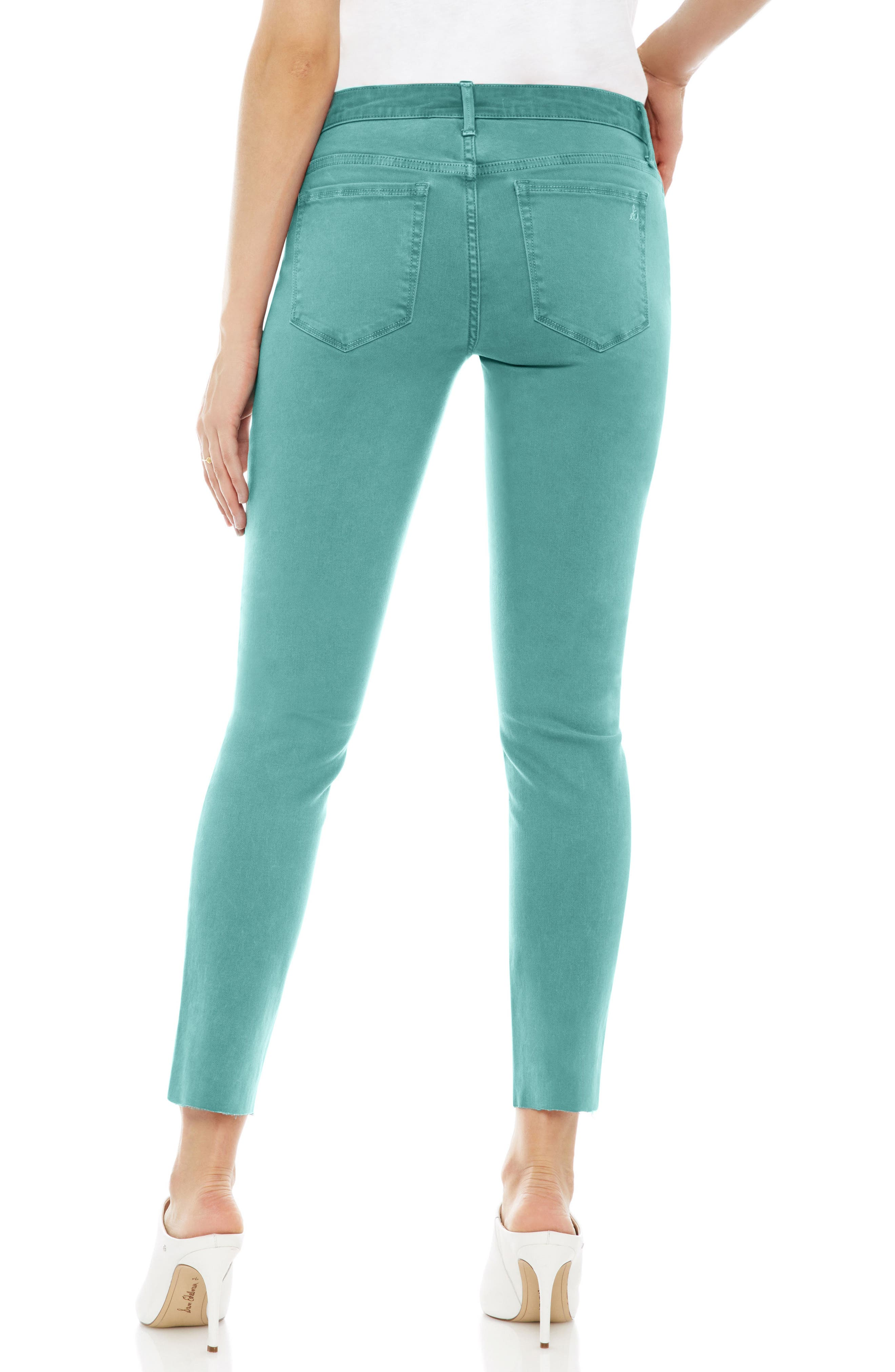 The Kitten Raw Hem Skinny Jeans,                             Alternate thumbnail 2, color,                             Teal
