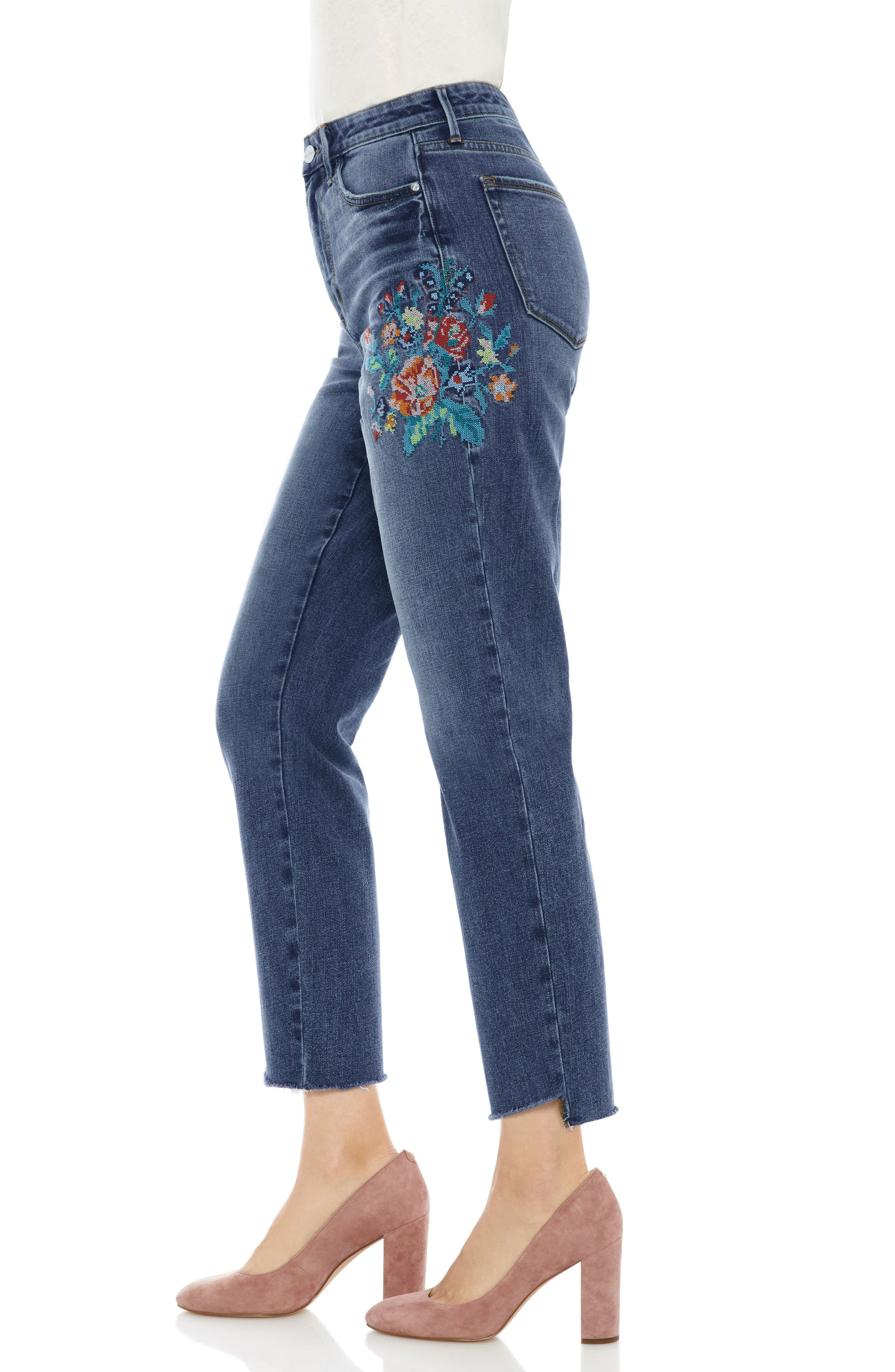 The Mary Jane Floral Accent Step Hem Jeans,                             Alternate thumbnail 3, color,                             Harlin