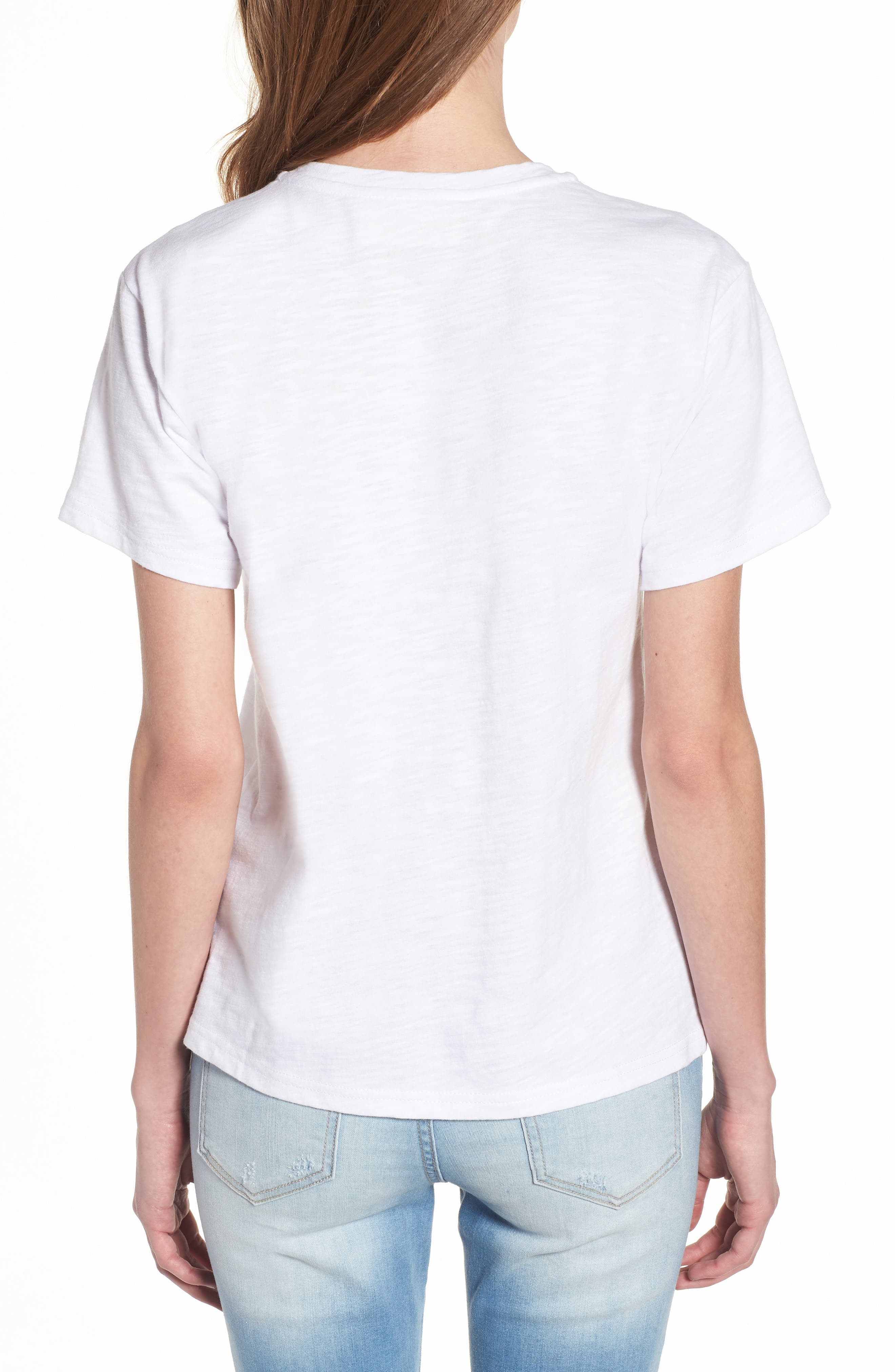Sleeping Embroidered Tee,                             Alternate thumbnail 2, color,                             White