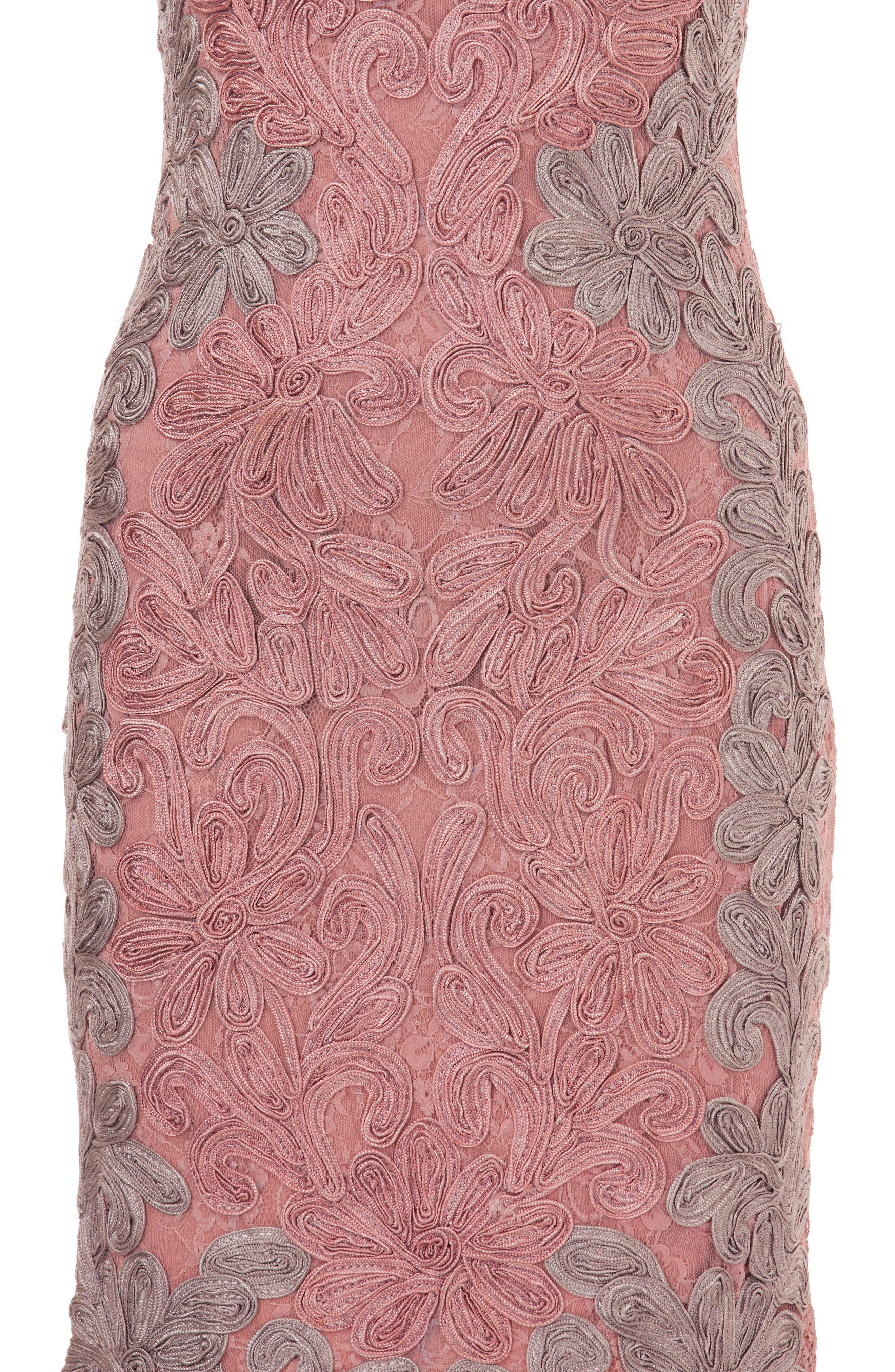 Contrast Soutache Sheath Dress,                             Alternate thumbnail 3, color,                             Pink/ Taupe