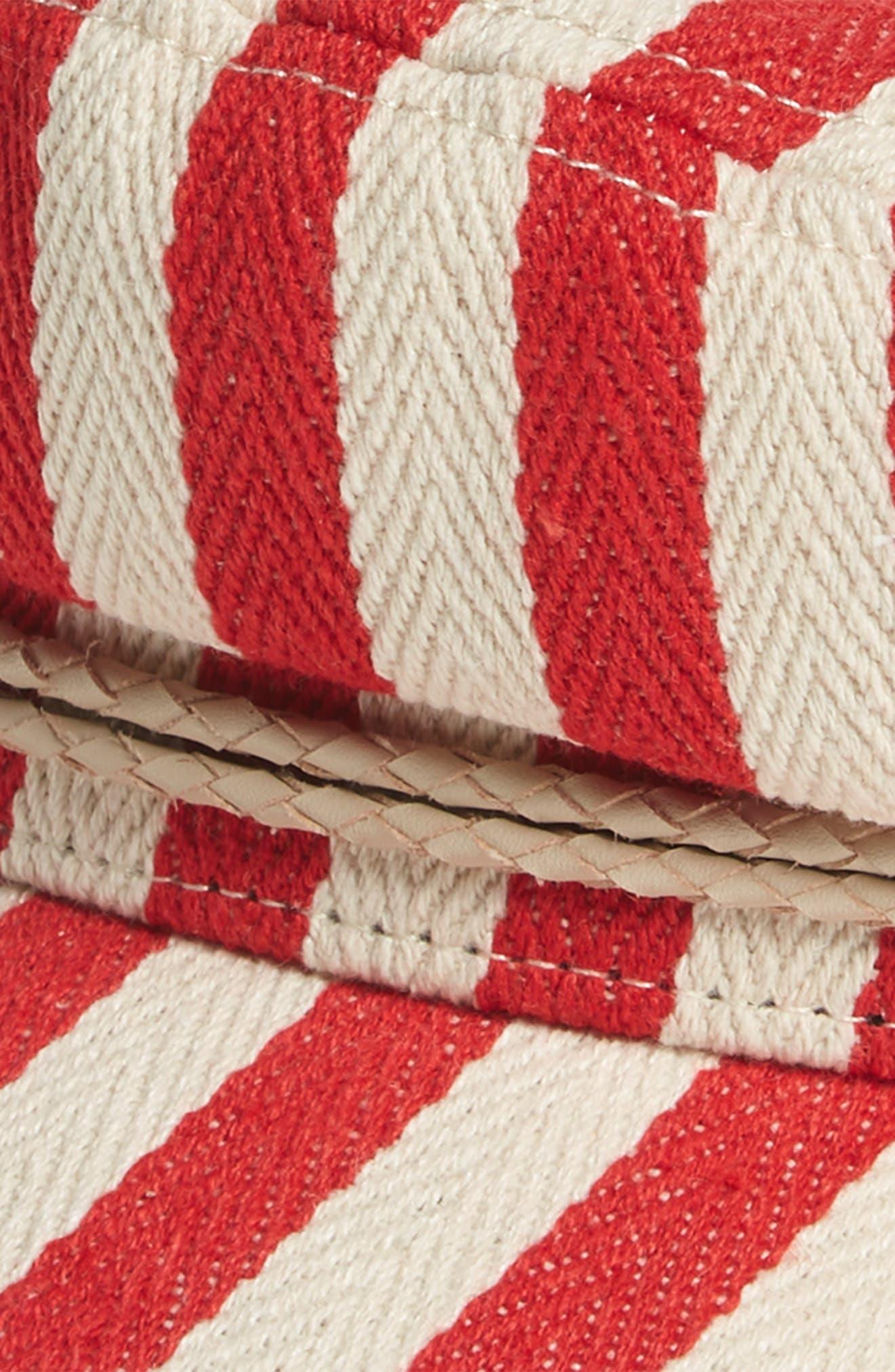 Fiddler Stripe Baker Boy Cap,                             Alternate thumbnail 2, color,                             Red/ Natural
